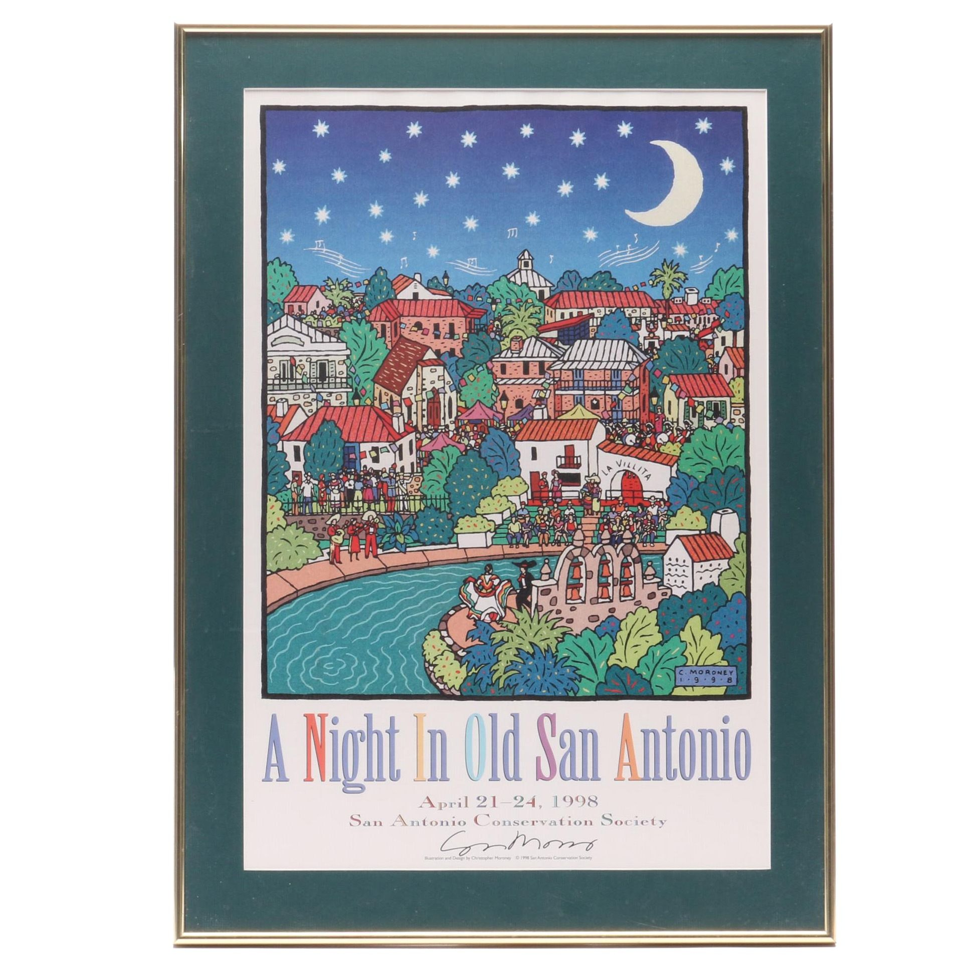 "San Antonio Conservation Society 1998 Poster ""A Night in Old San Antonio"""