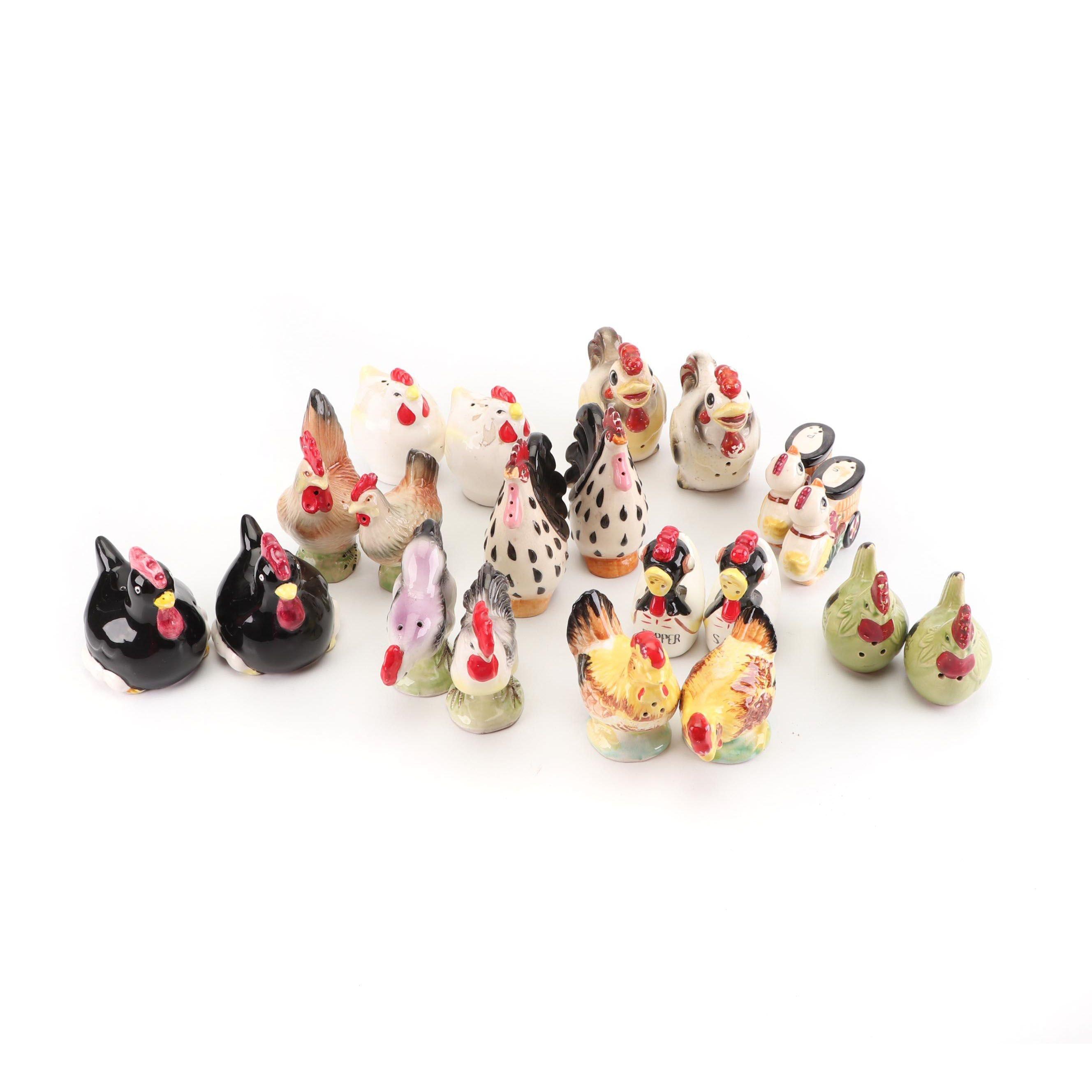 Figural Chicken Ceramic Salt and Pepper Shakers, Vintage