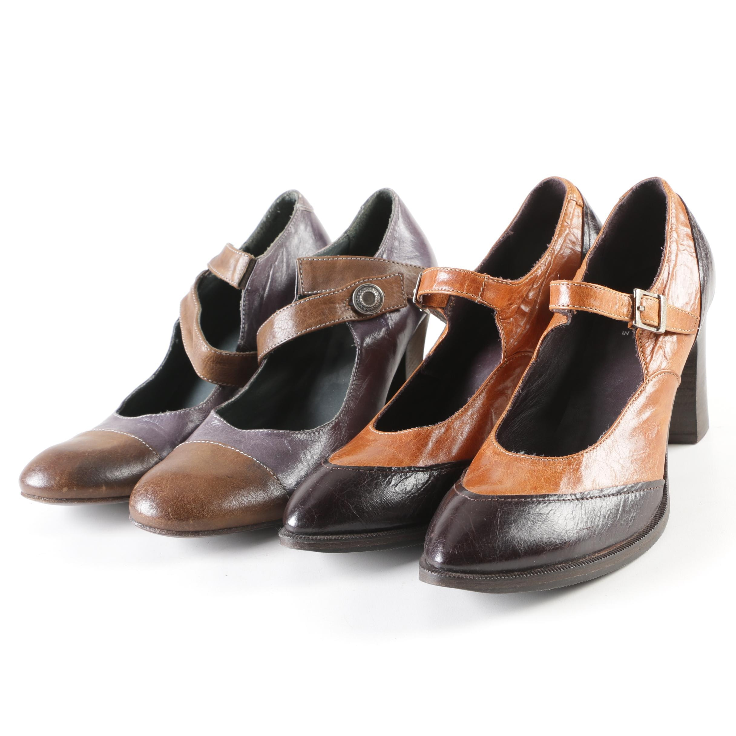 MOMA Two Toned Mary Jane-Style Heels
