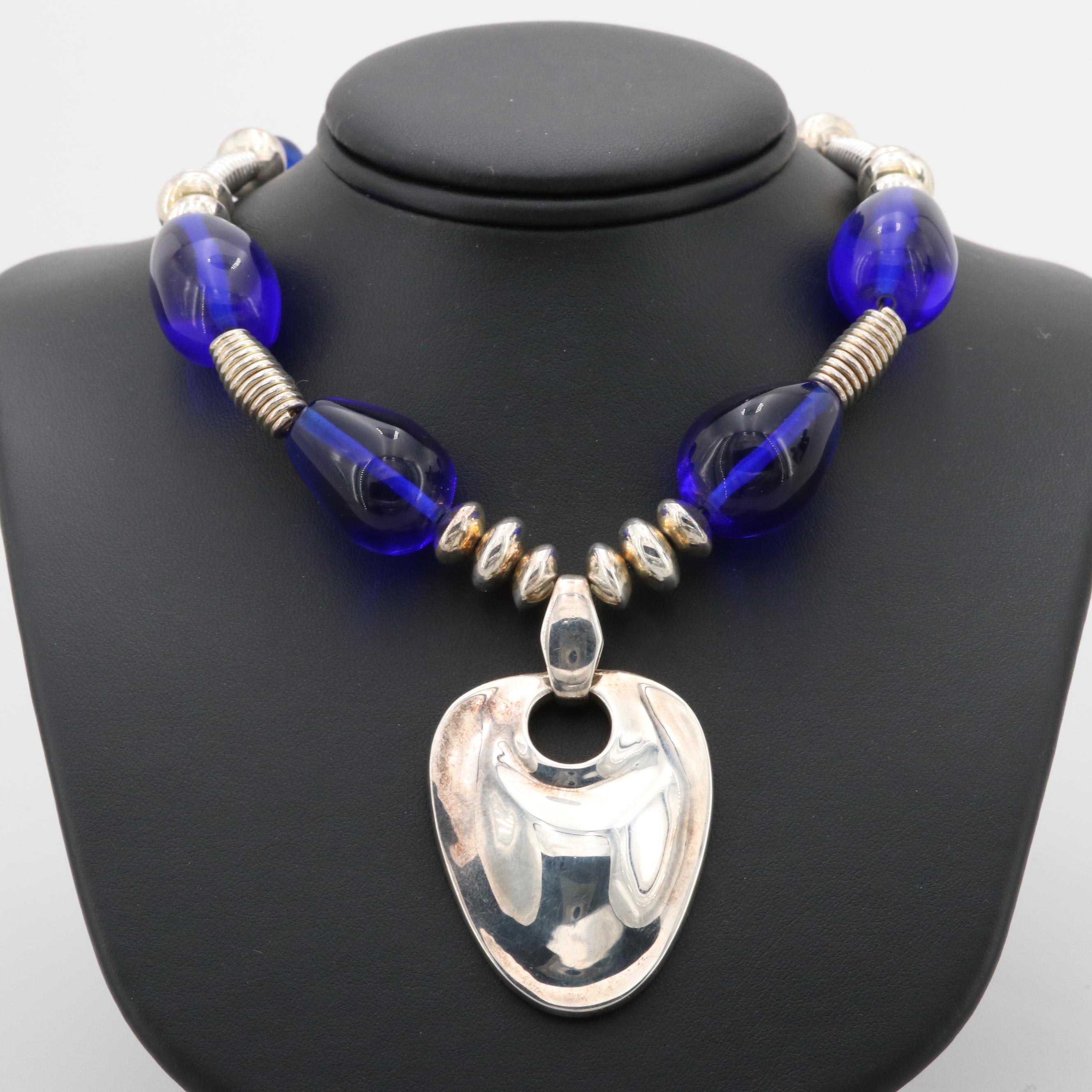 Robert Lee Morris Sterling Silver Glass Necklace