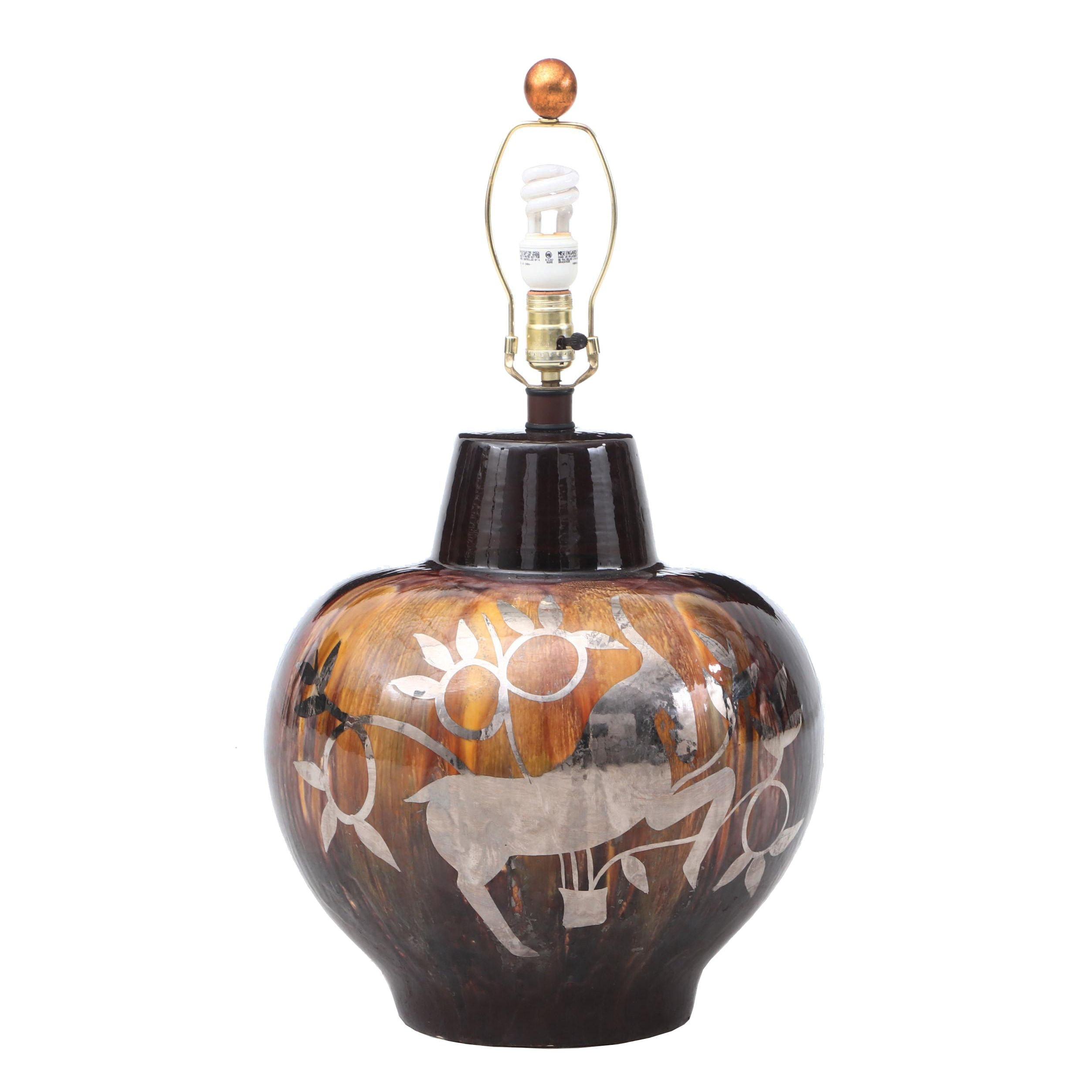 Drip Glaze Ceramic Table Lamp Featuring Silver Leaf Antelopes, Mid-Century