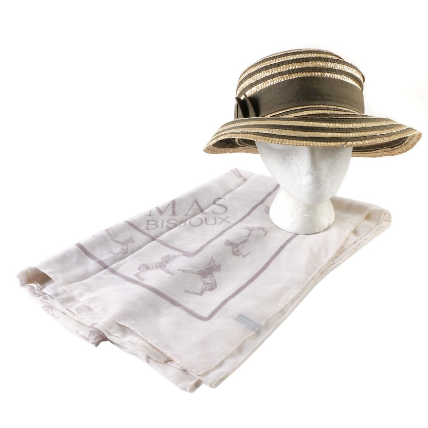 Henri Bendel New York Woven Straw and Grosgrain Hat and Mas Bisjoux Scarf    EBTH d70126b3d48
