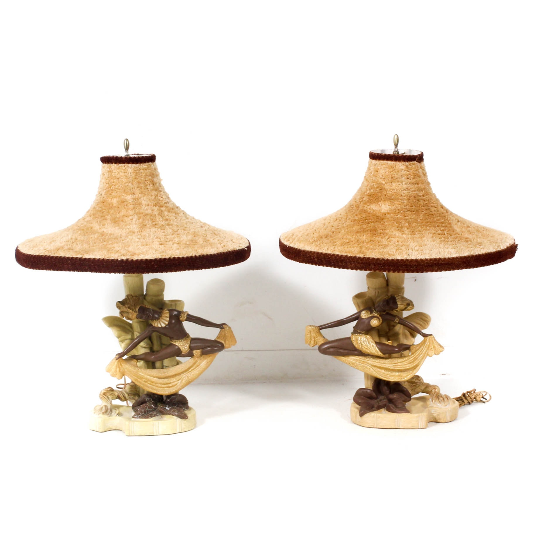 Continental Art Co. Figural Chalkware Table Lamps with Chenille Lamp Shades