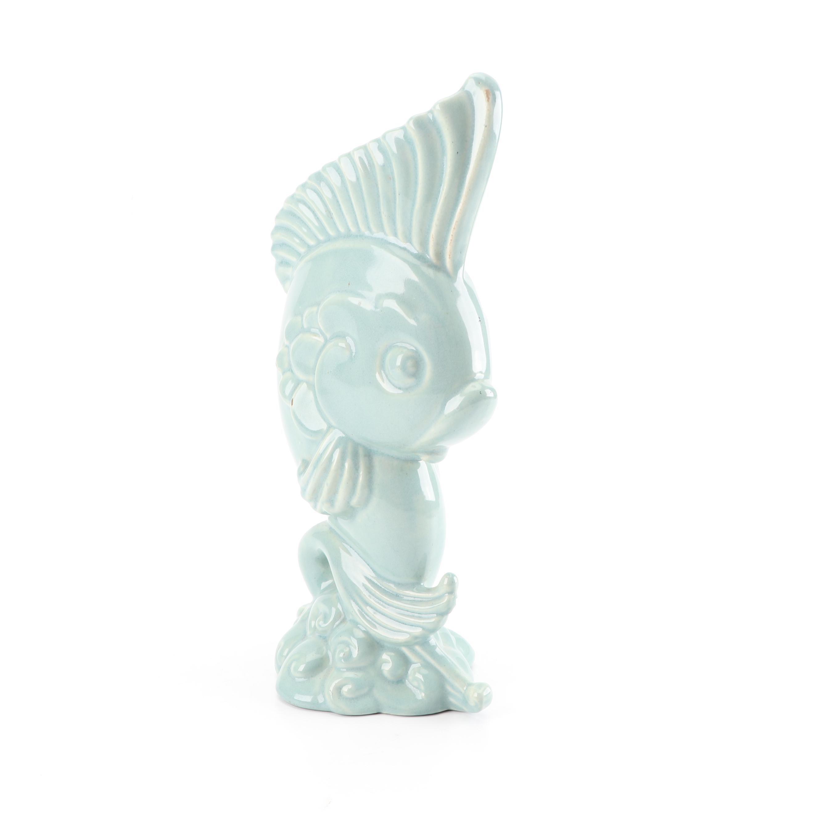 Ceramic Fish Vase,  Mid Century