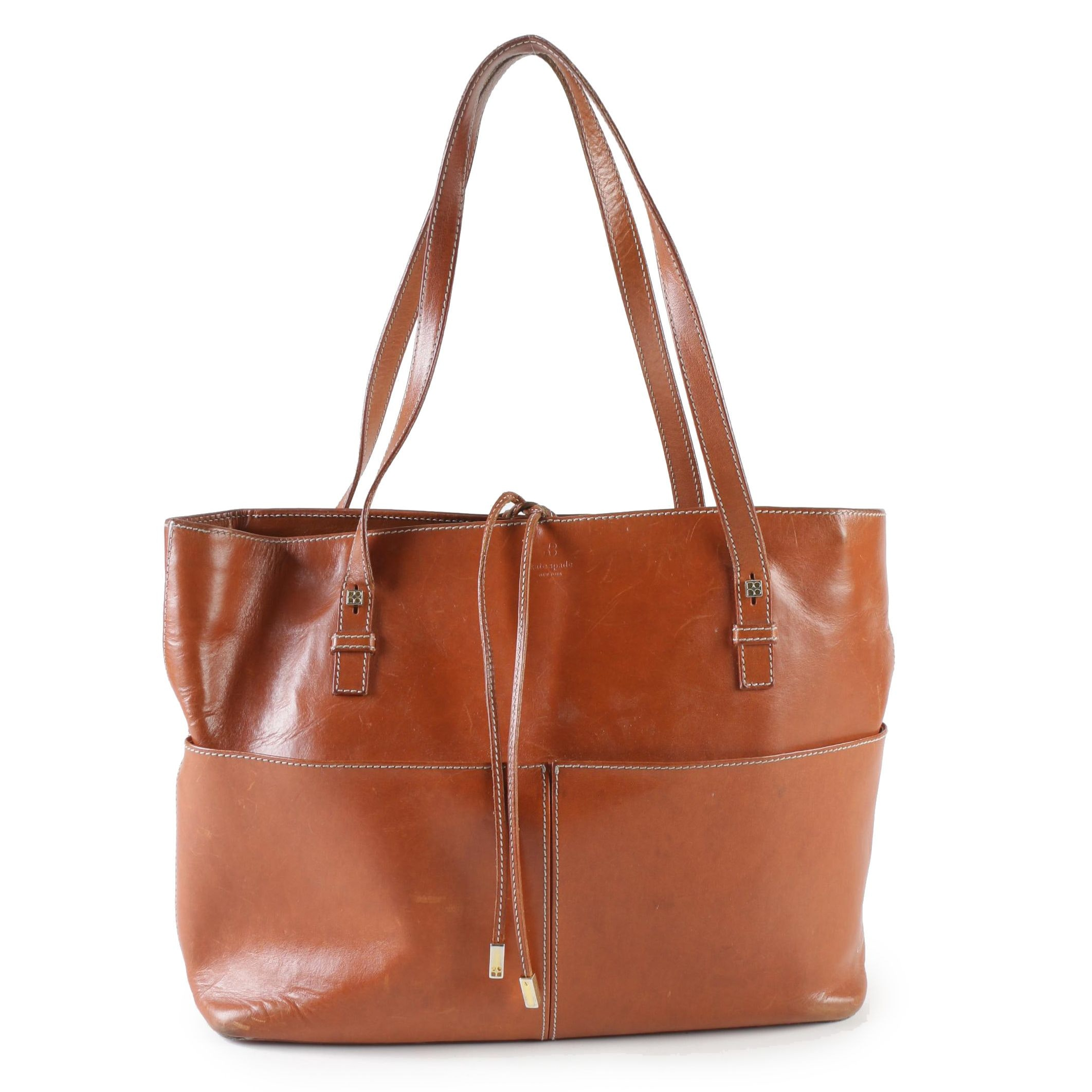 Kate Spade New York Cognac Leather Tote Shoulder Bag