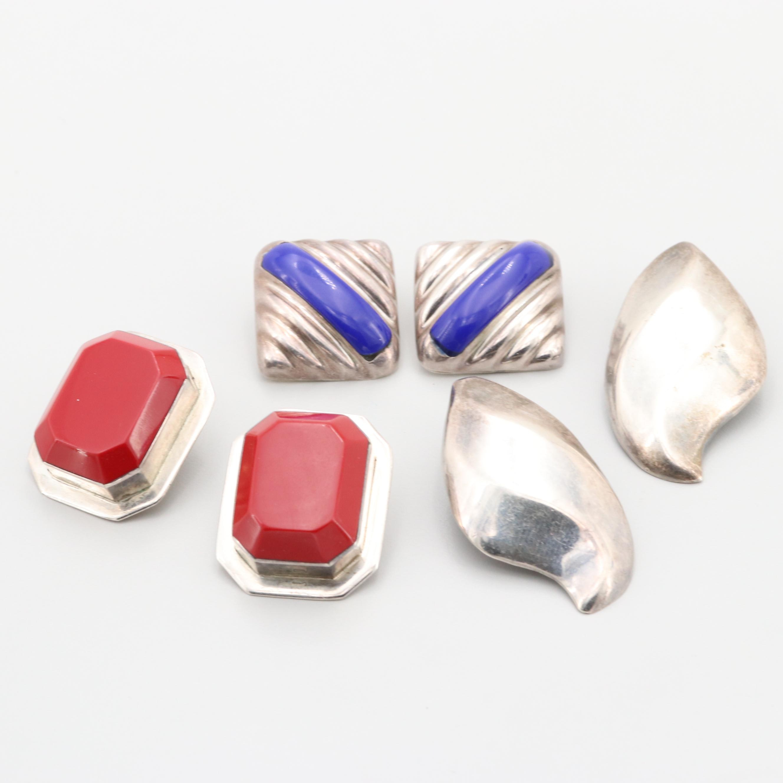 Selection of Mexican Sterling Silver Glass and Resin Earrings