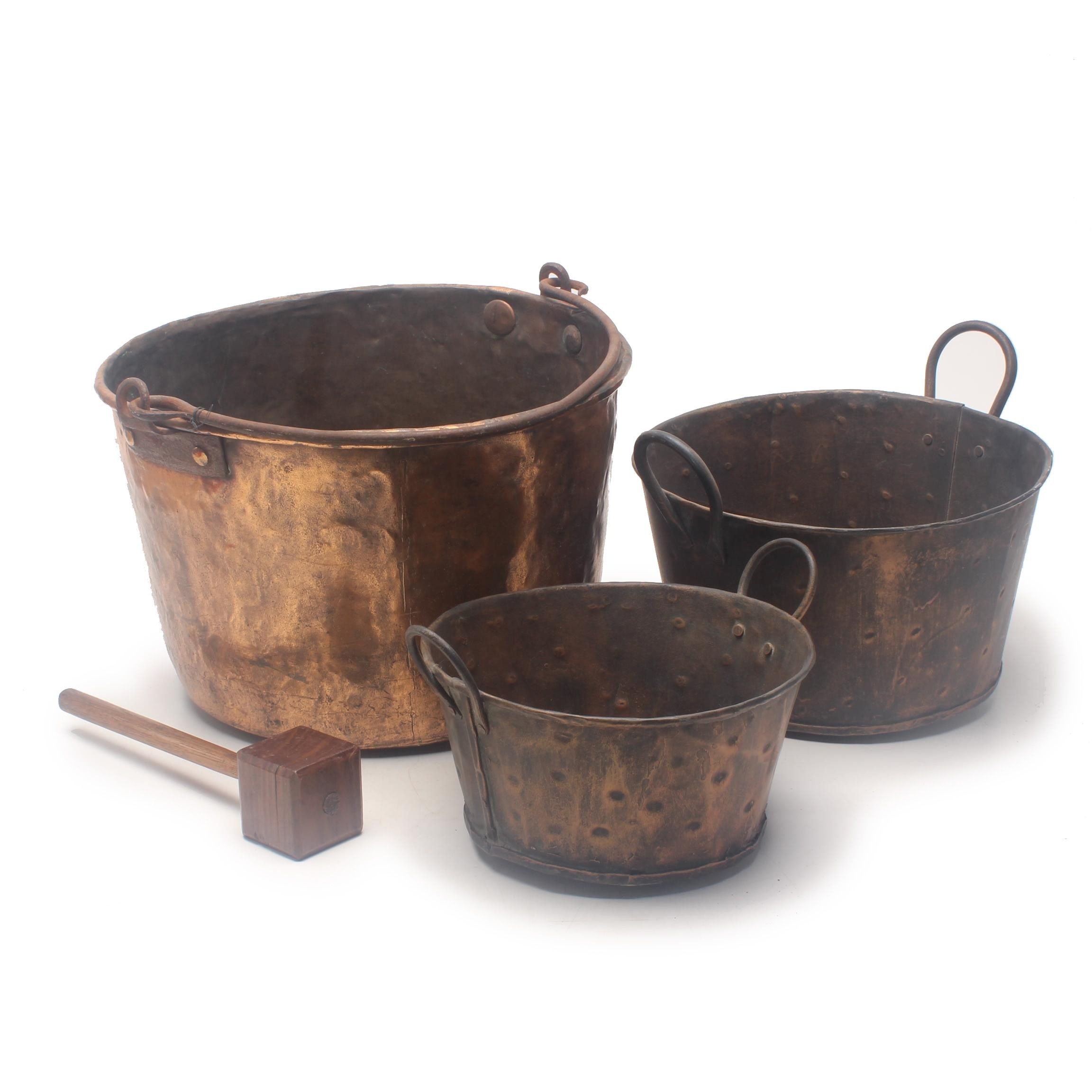 Hammered Copper Cauldron and Dual Handled Pots, Mid-19th Century