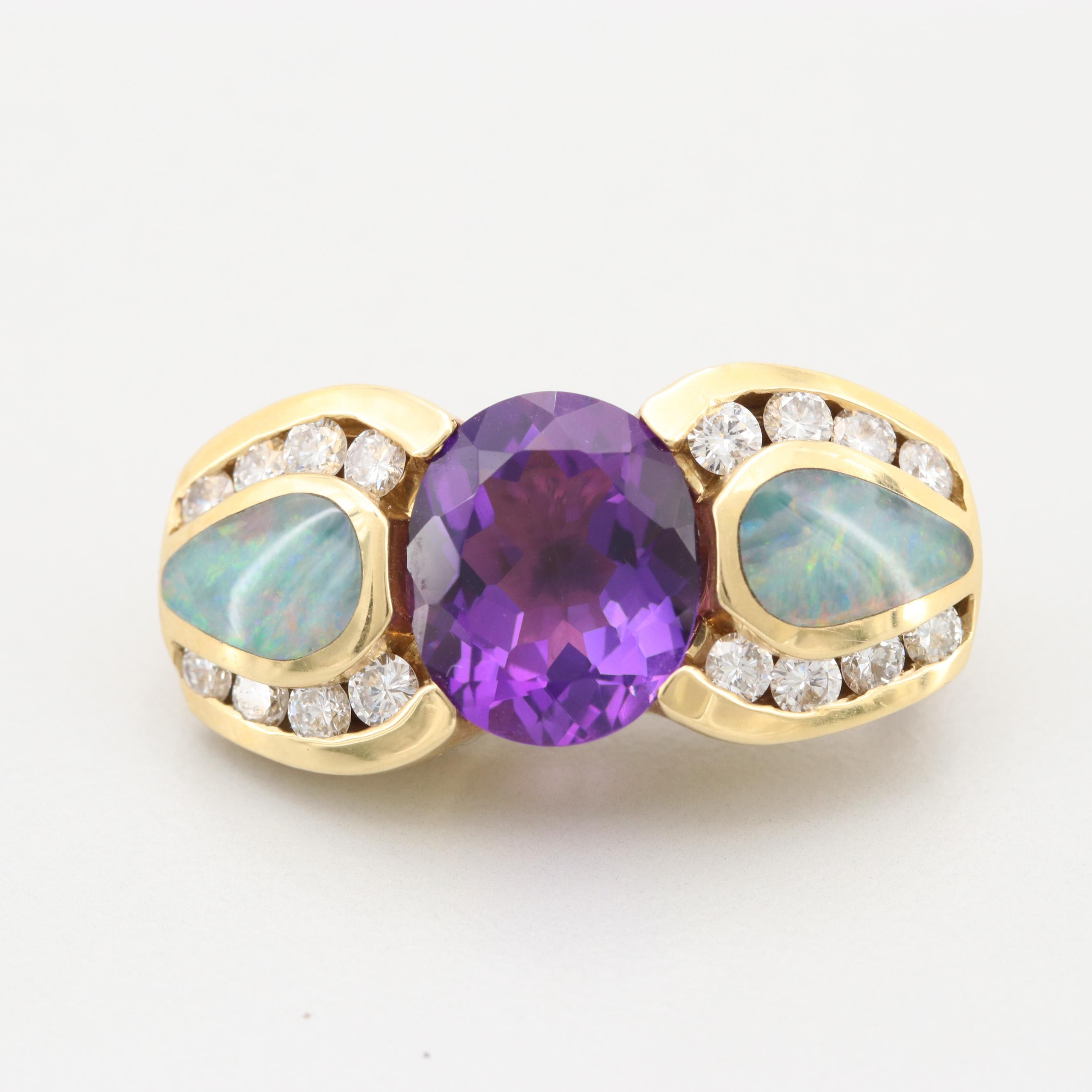 18K Yellow Gold Diamond Amethyst and Opal Brooch
