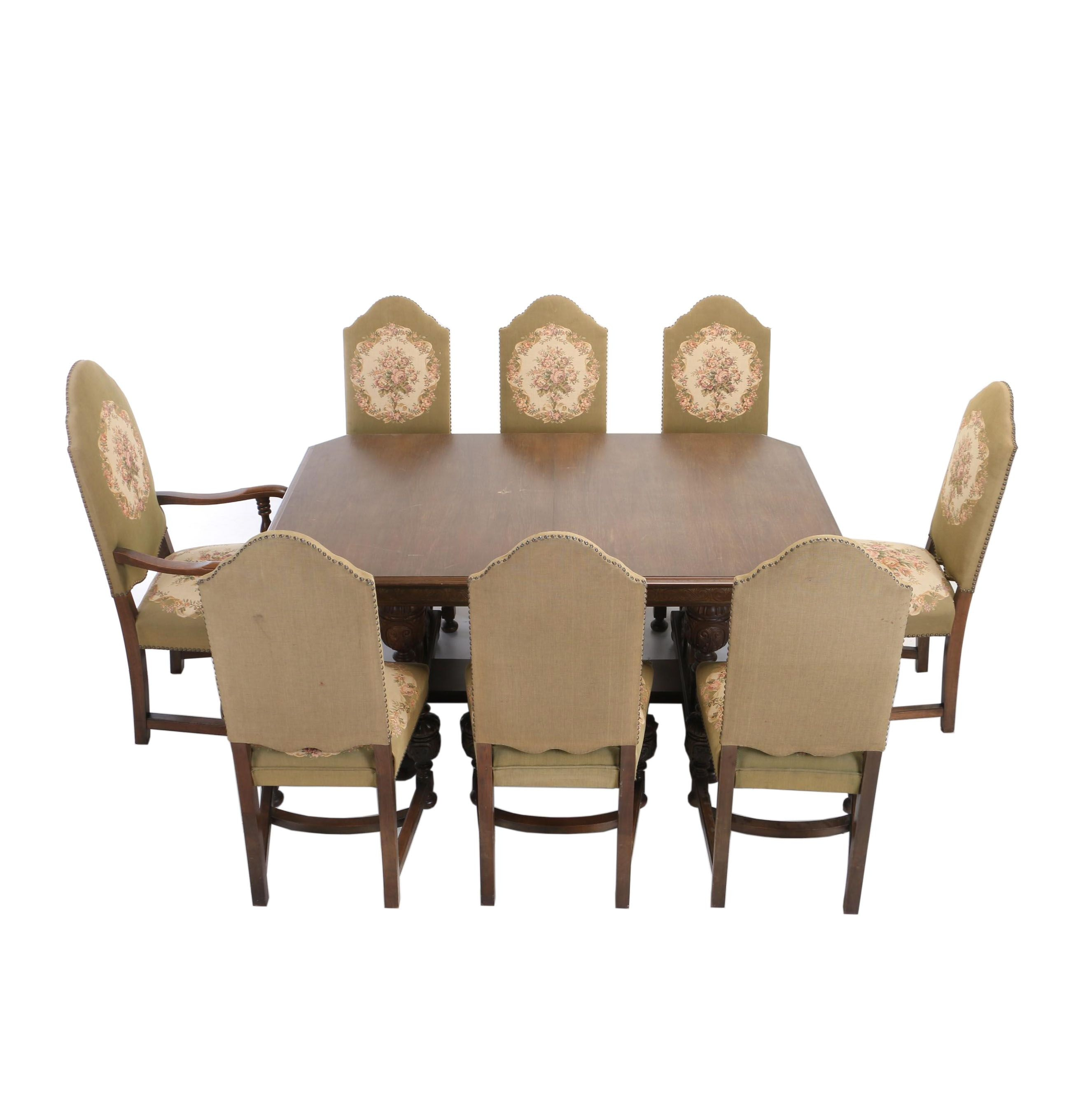 Jacobean Style Walnut Nine-Piece Dining Set, Early 20th Century
