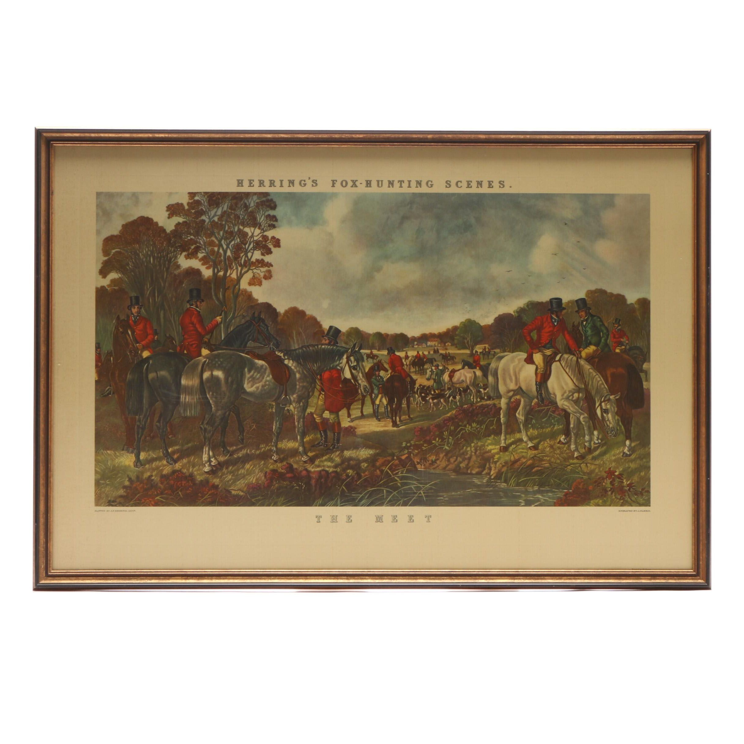 "Offset Lithograph Reproduction after J. Harris Engraving ""The Meet"""