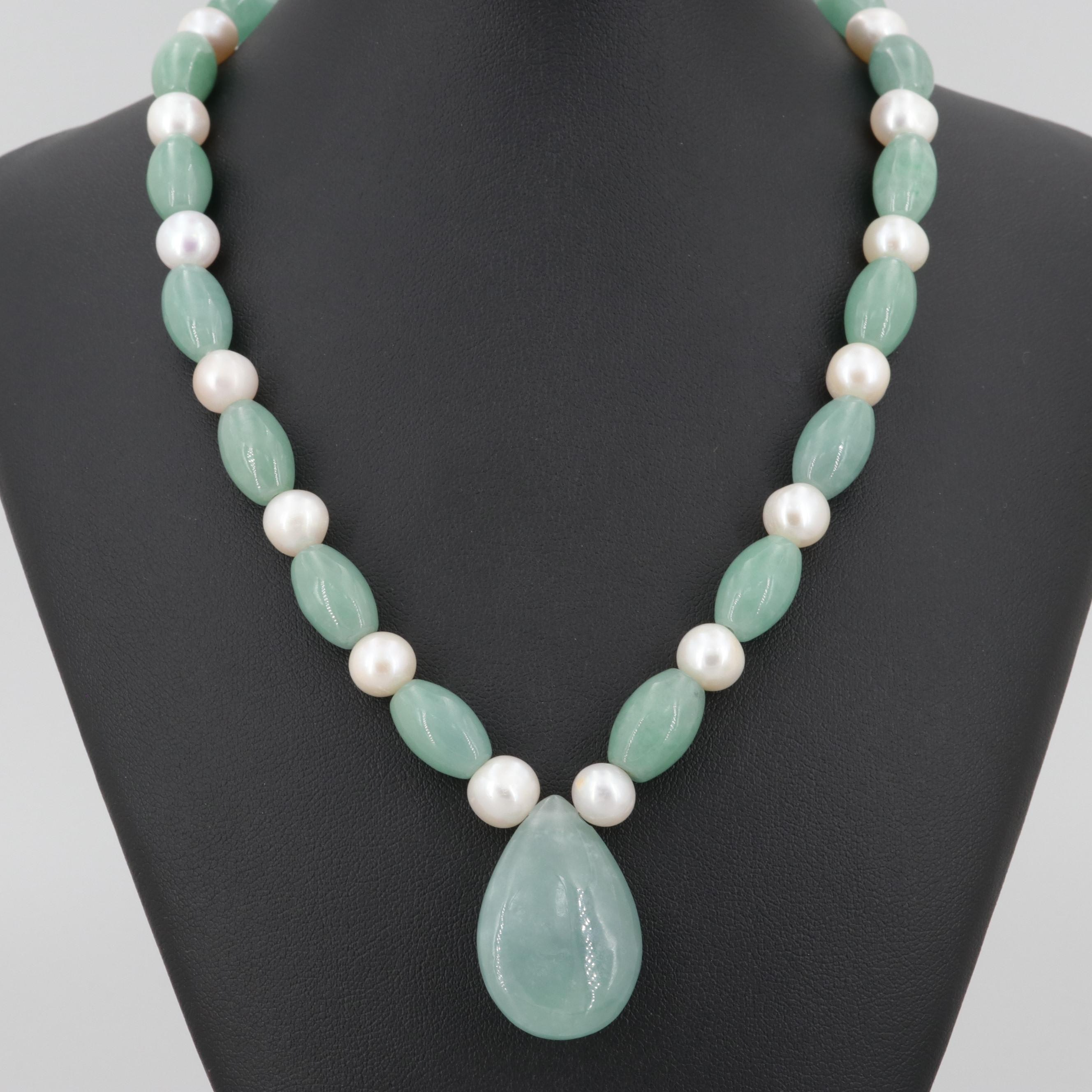 Sterling Silver Jadeite and Cultured Pearl Necklace
