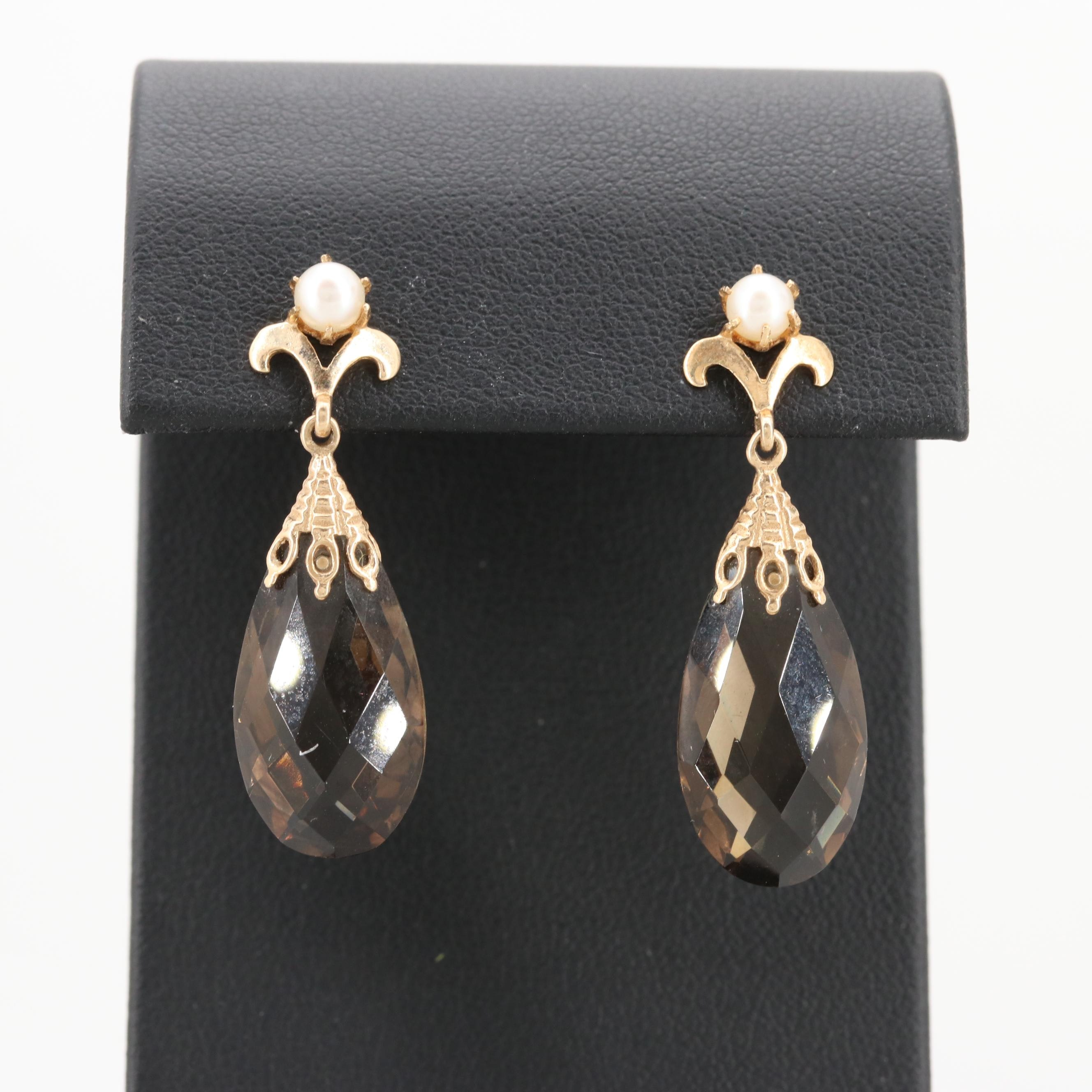 14K Yellow Gold Smoky Quartz and Cultured Pearl Earrings
