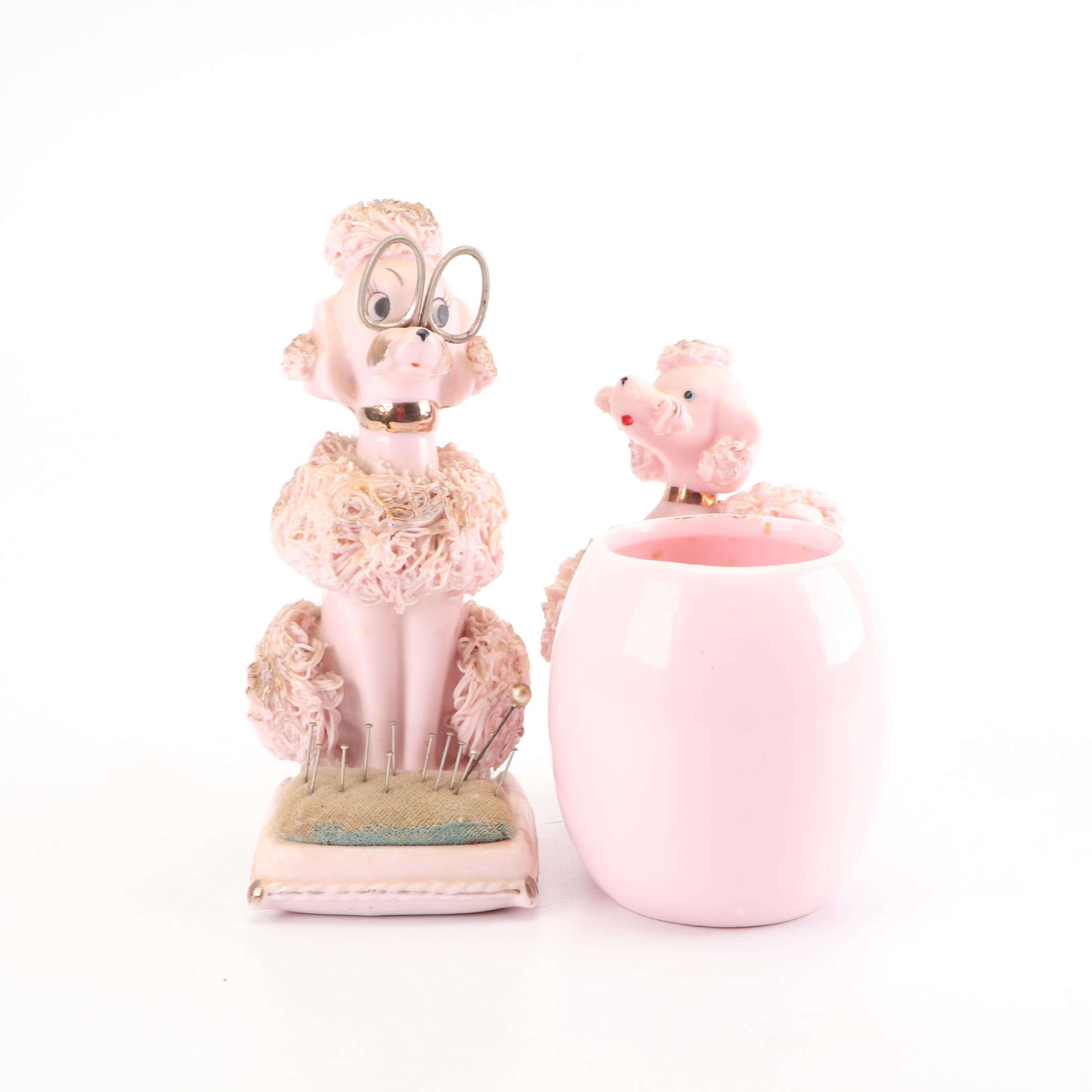 "Lenwile-Ardalt Pink ""Spaghetti"" Poodle Pincushion with Lefton Vase, Mid-Century"