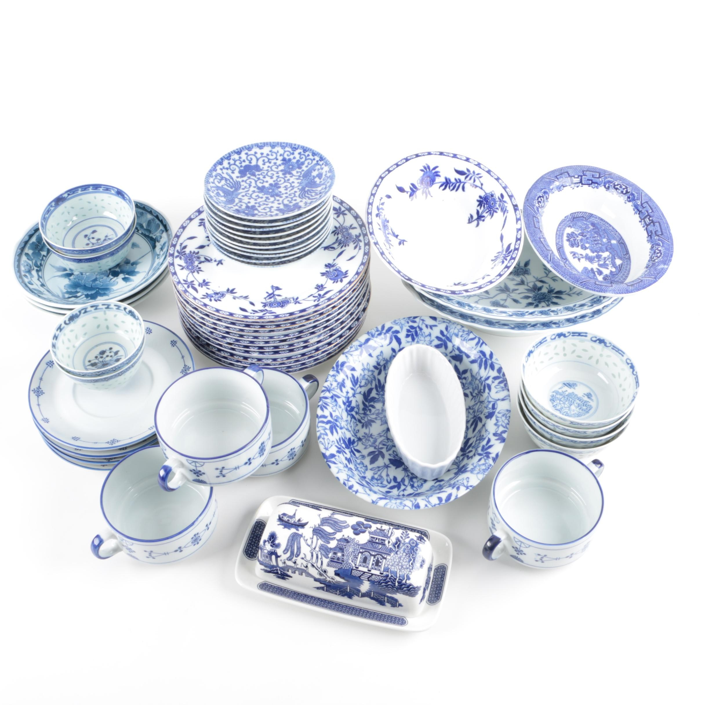 Vintage and Modern Blue and White Patterned Tableware Including Adderley