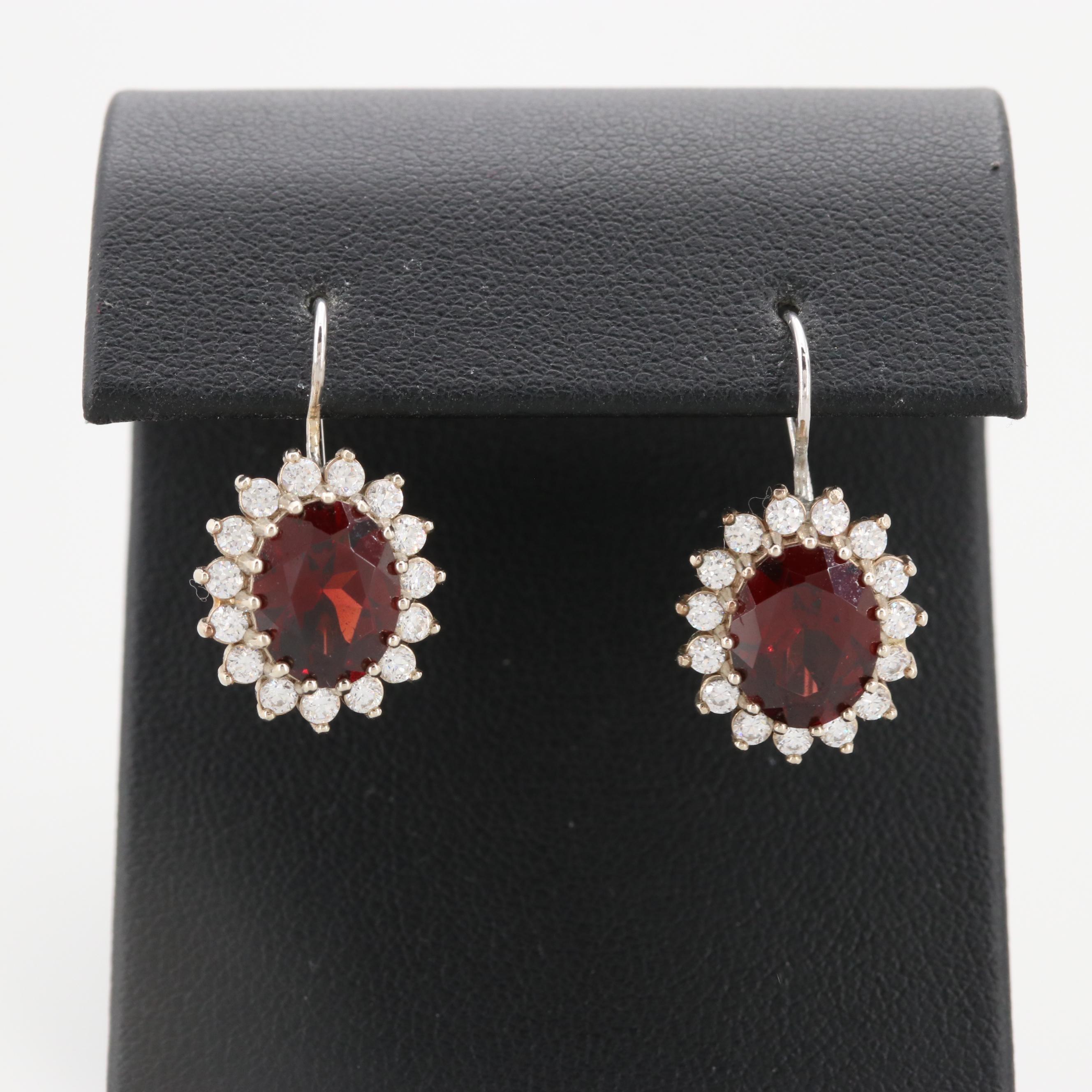 14K White Gold Garnet and Cubic Zirconia Drop Earrings