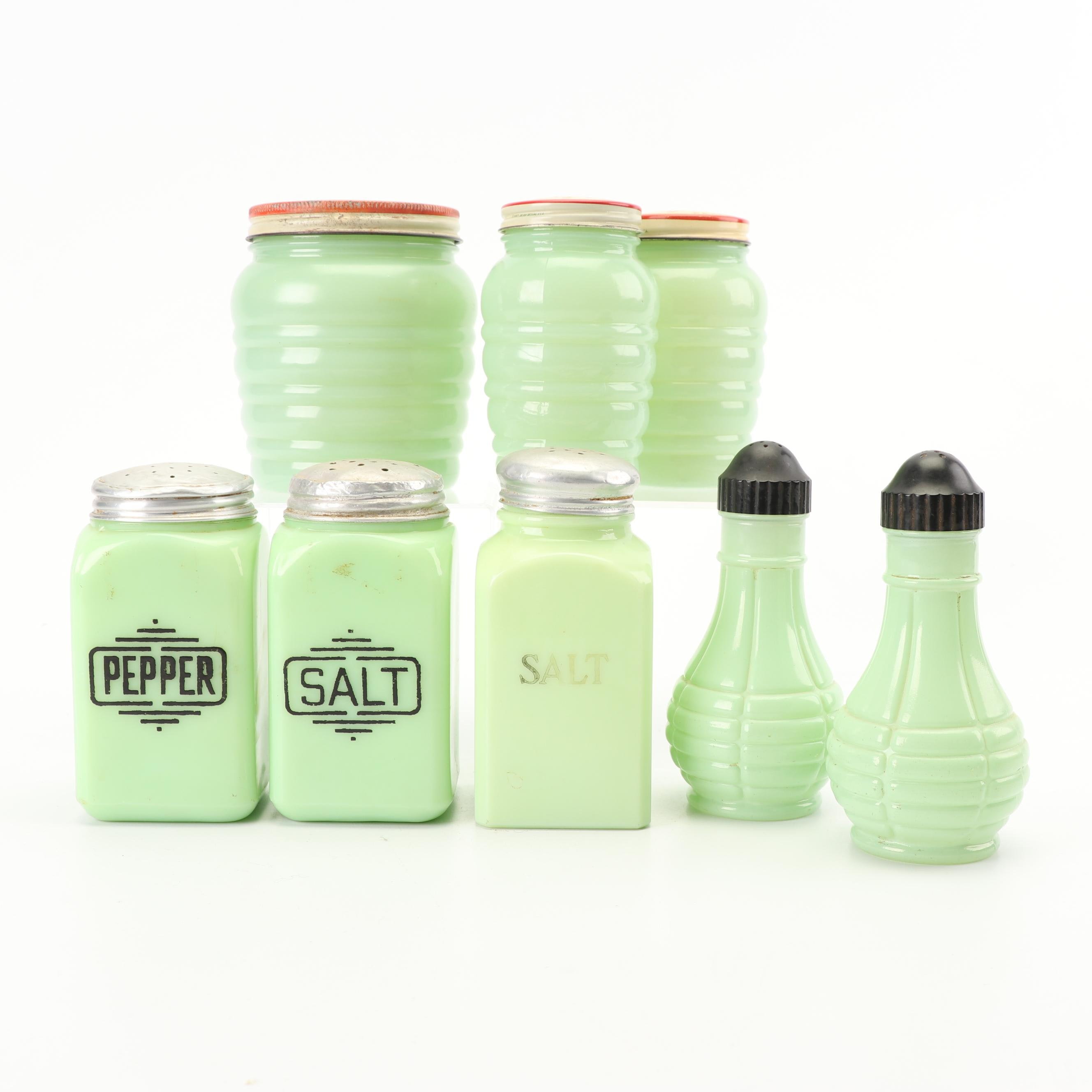 "Anchor Hocking ""Jade-ite"" Drip Jar and Shakers with Other Jadeite Shakers"
