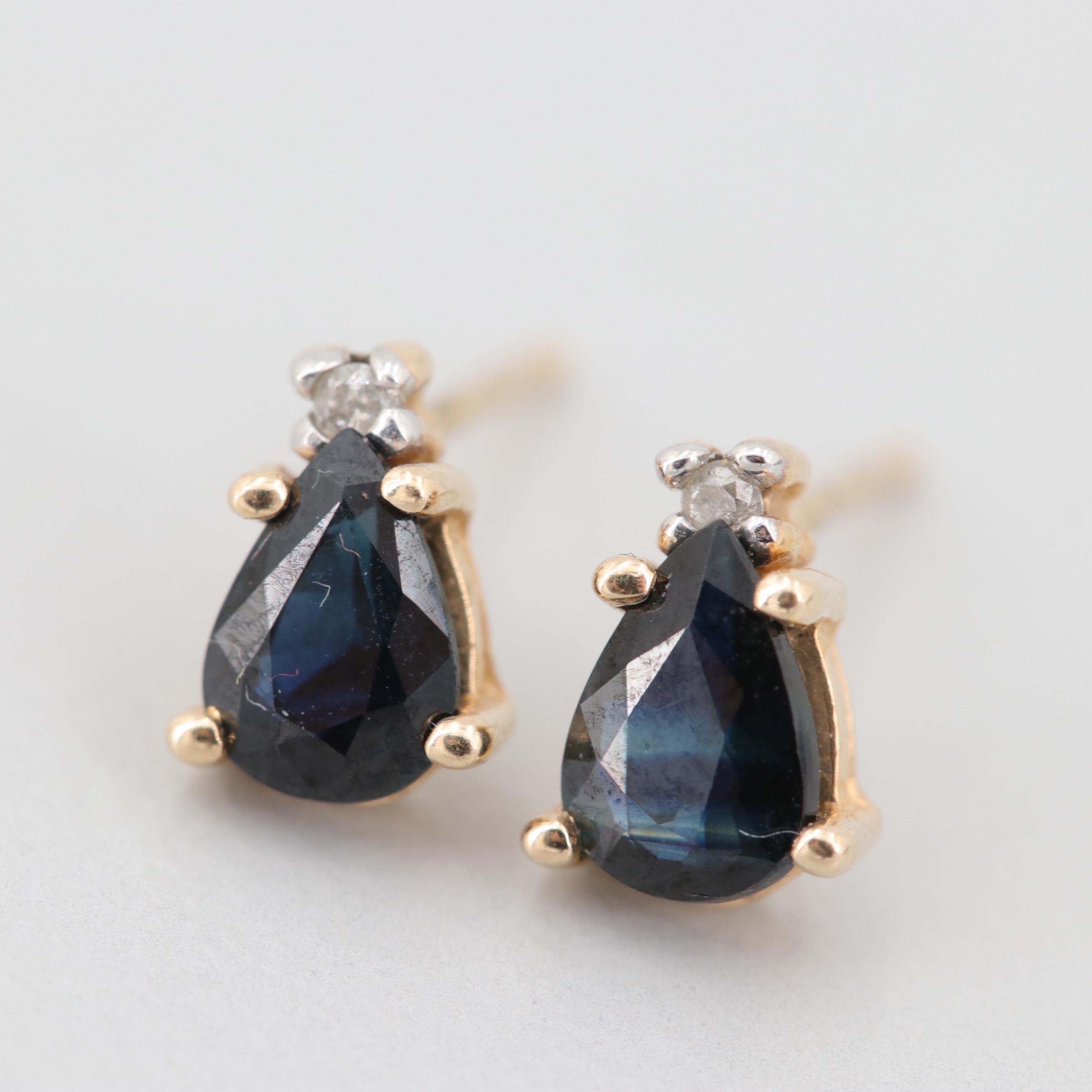 10K Yellow Gold Sapphire and Diamond Earrings