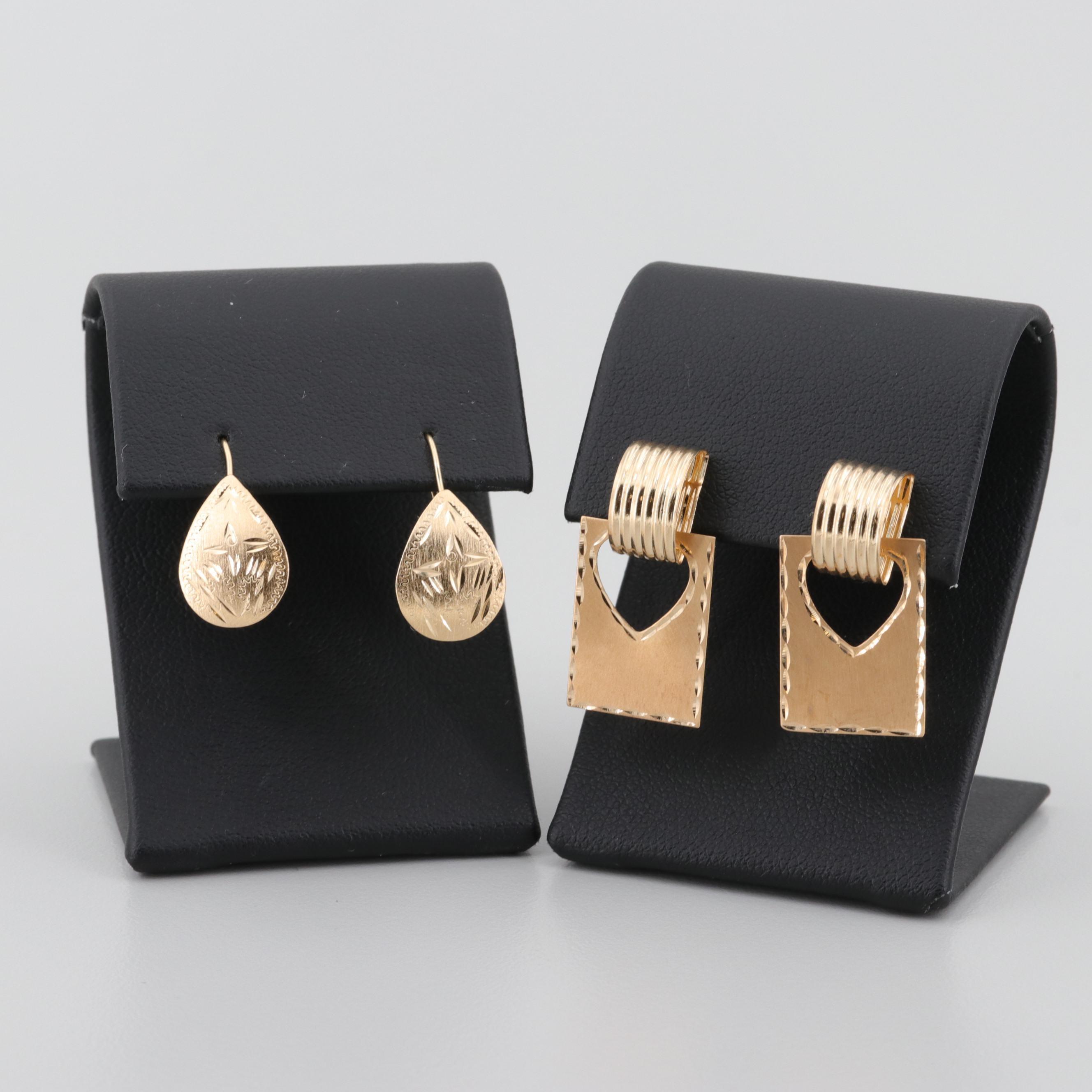14K Yellow Gold Dangle and Drop Motif Earrings