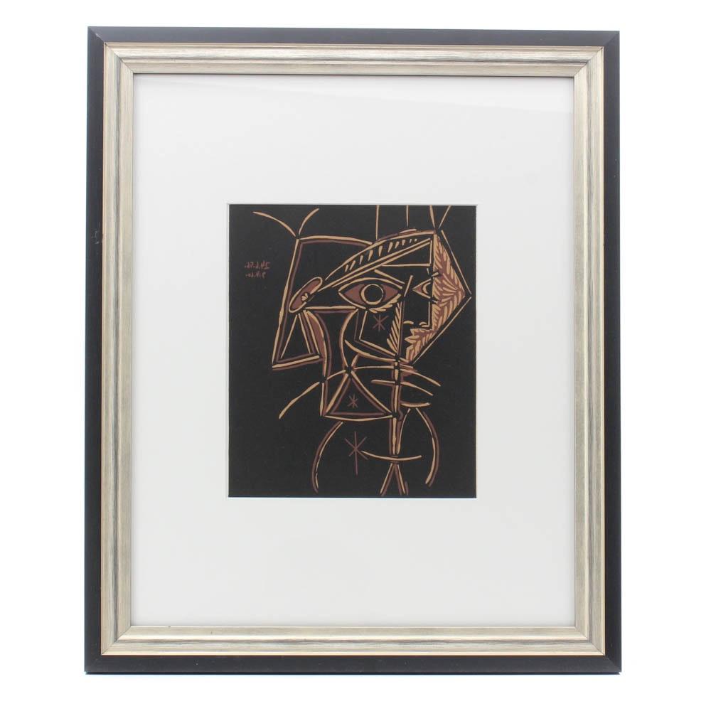 """Pablo Picasso Linoleum Cut """"Tête de Femme"""""""