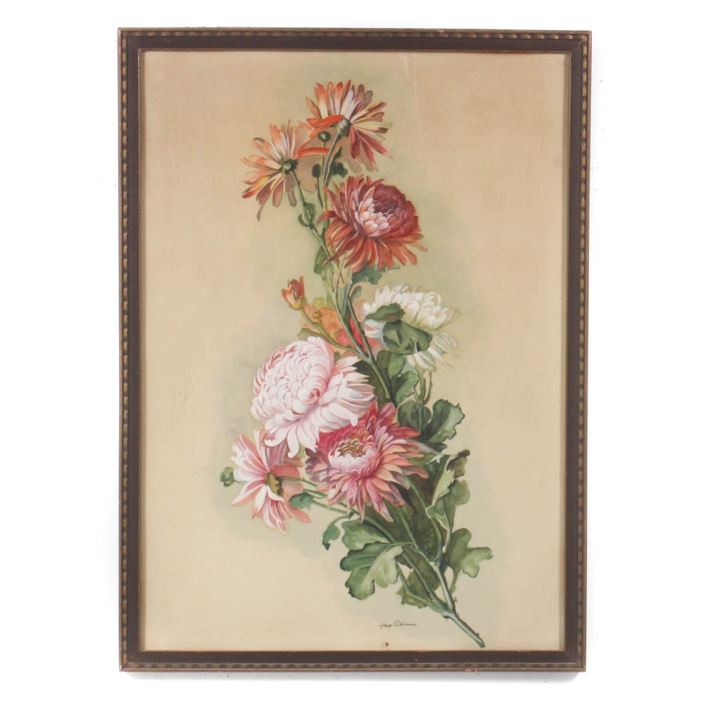 Watercolor Painting of Chrysanthemums, Early 20th Century