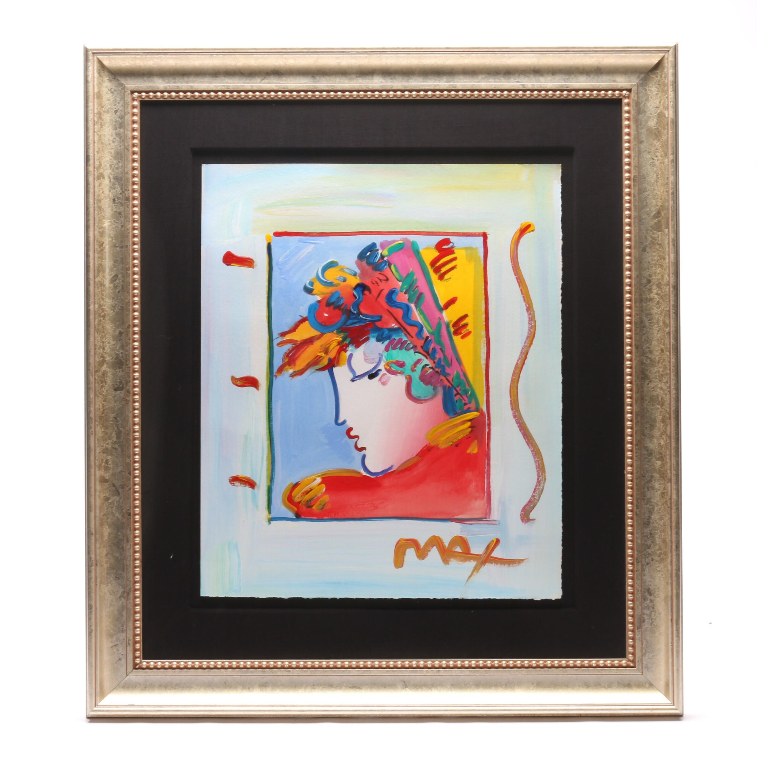 "Peter Max 2002 Acrylic Painting ""Blushing Beauty"""