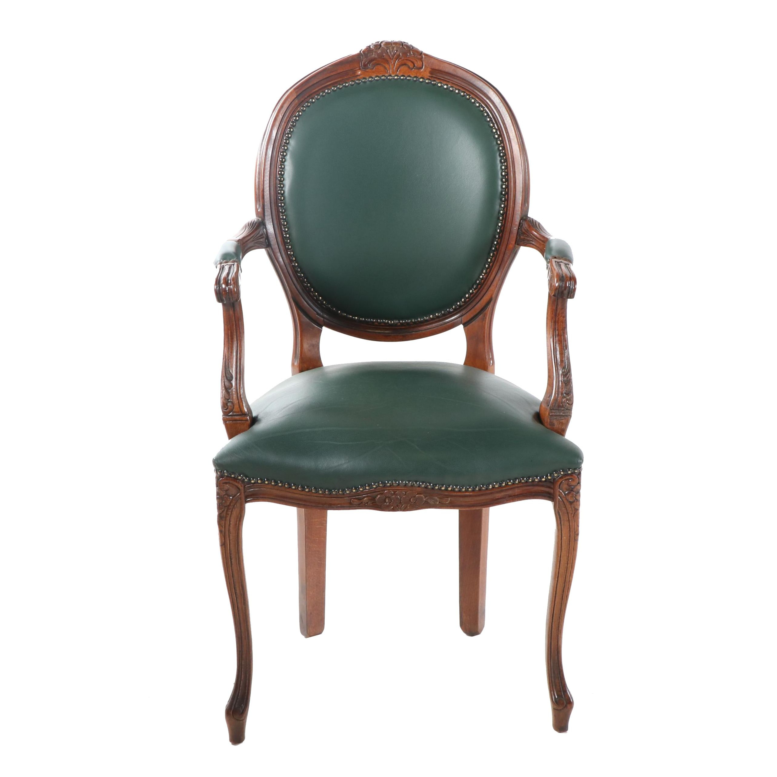 French Provincial Style Carved Wood Frame Leather Upholstered Armchair, 20th C.
