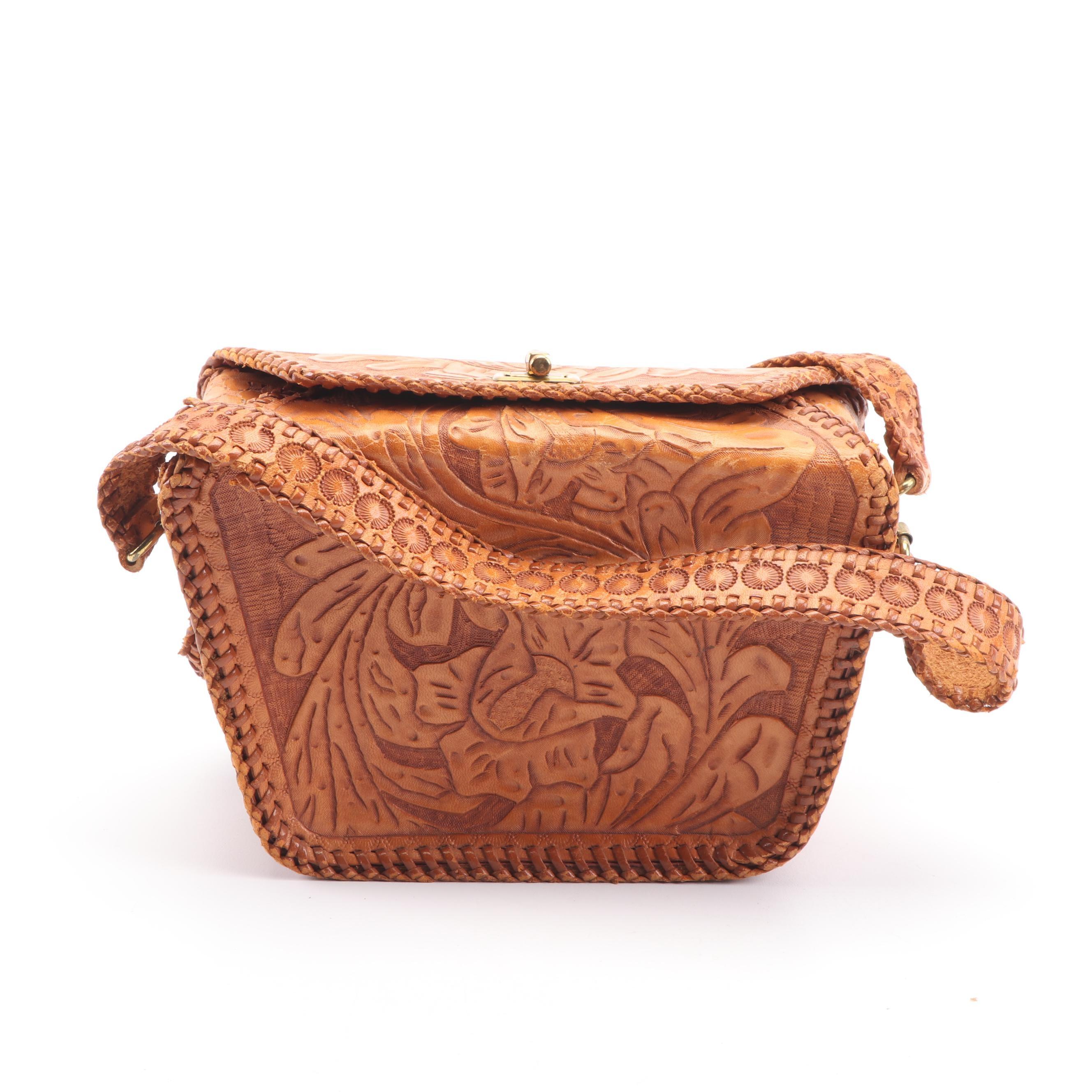 Vintage Brown Tooled Leather Handbag