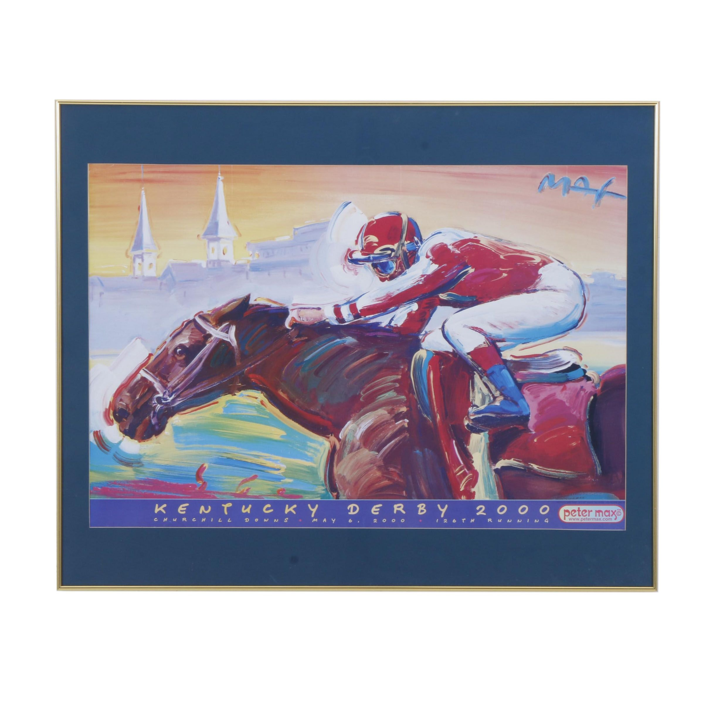 "Offset Lithograph After Peter Max ""Kentucky Derby 2000"""