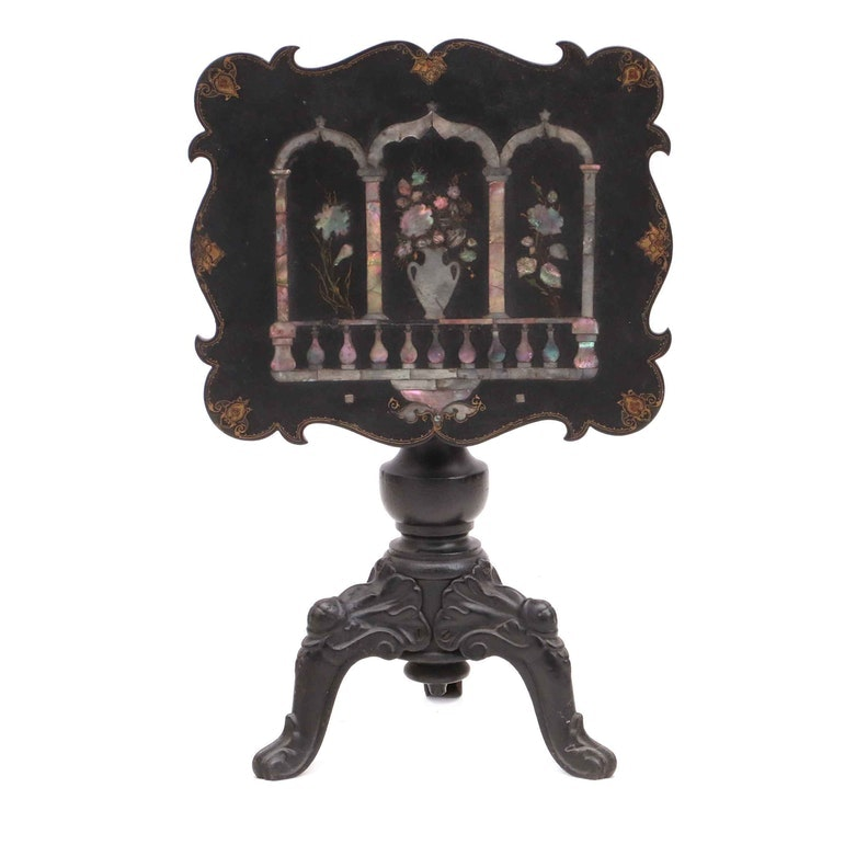 Papier-Mâché and Mother of Pearl Married Table by Chinnock's Patent Screen