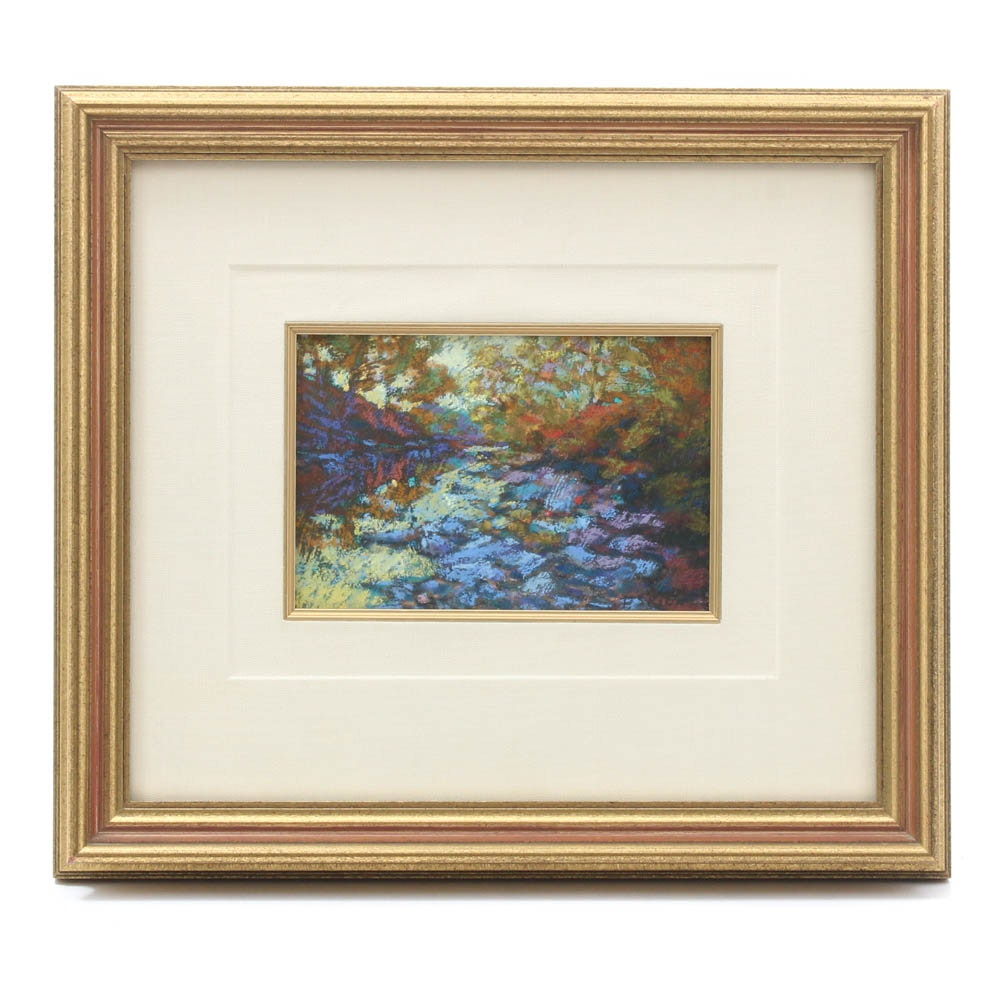 "Pat Skiba Modernist Arizona Pastel over Oil Painting ""Study of Autumn"""
