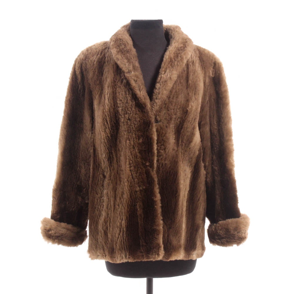 Sheared Beaver Fur Jacket, 1960s Vintage