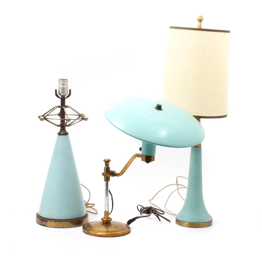 Mid Century Modern Aqua Blue Table Lamps