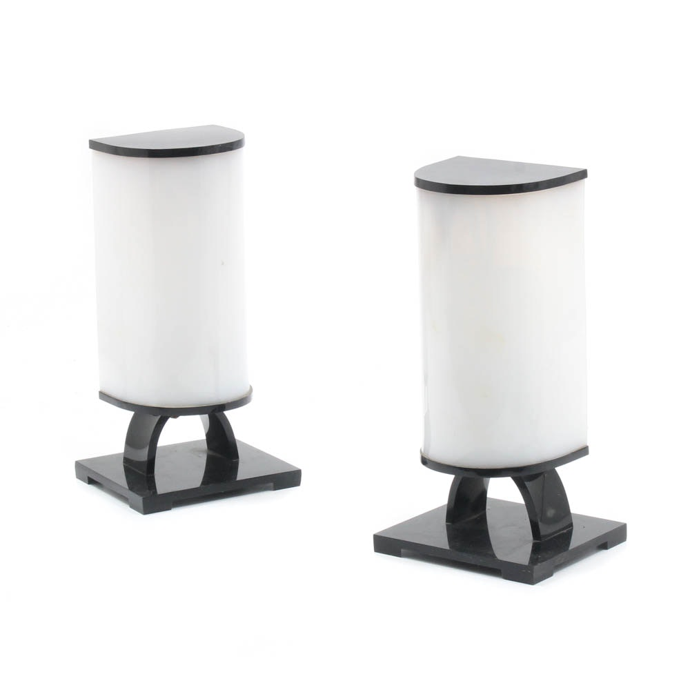 Black and White Acrylic Table Lamps, Mid 20th Century