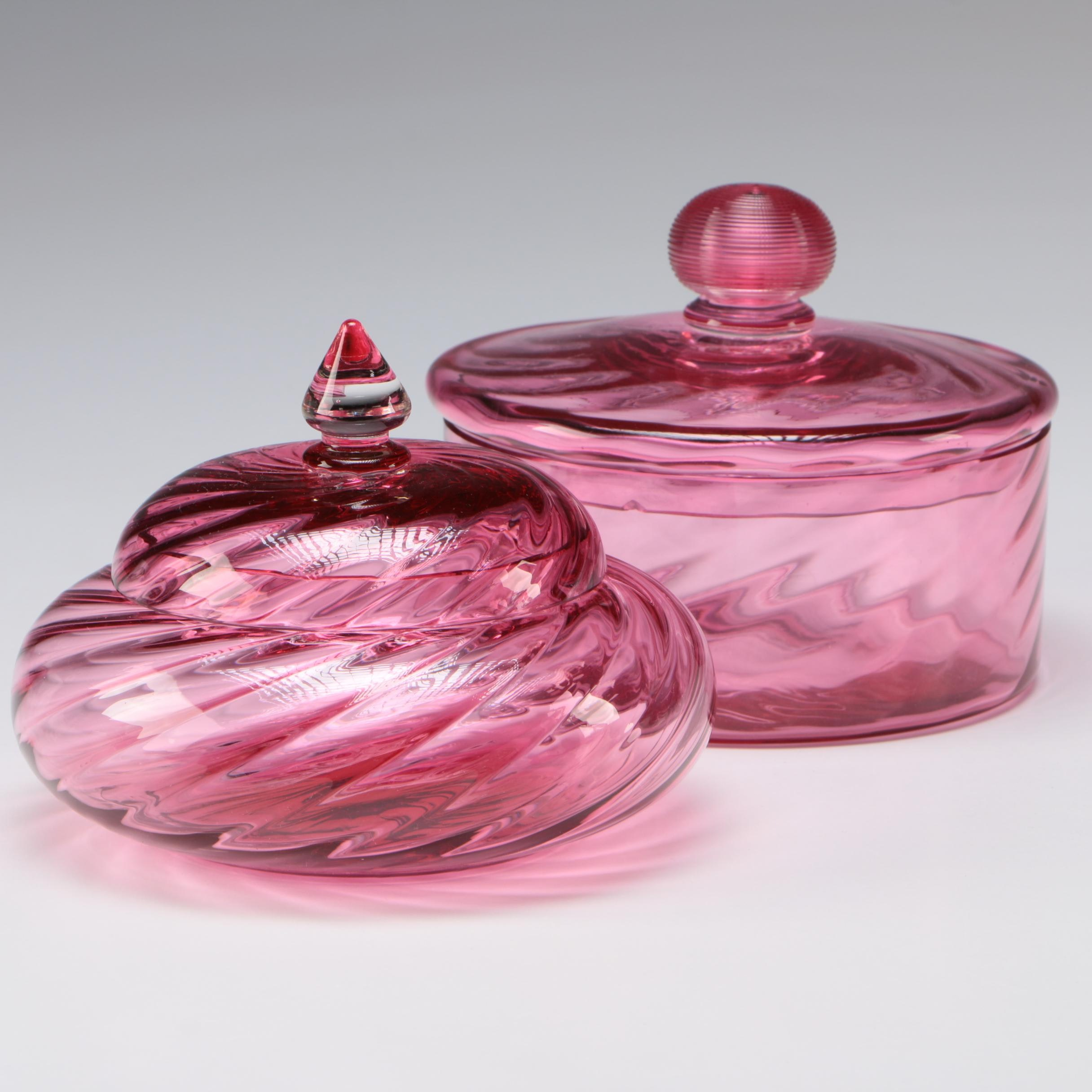 Steuben Gold Ruby Art Glass Puff Boxes, Early 20th Century