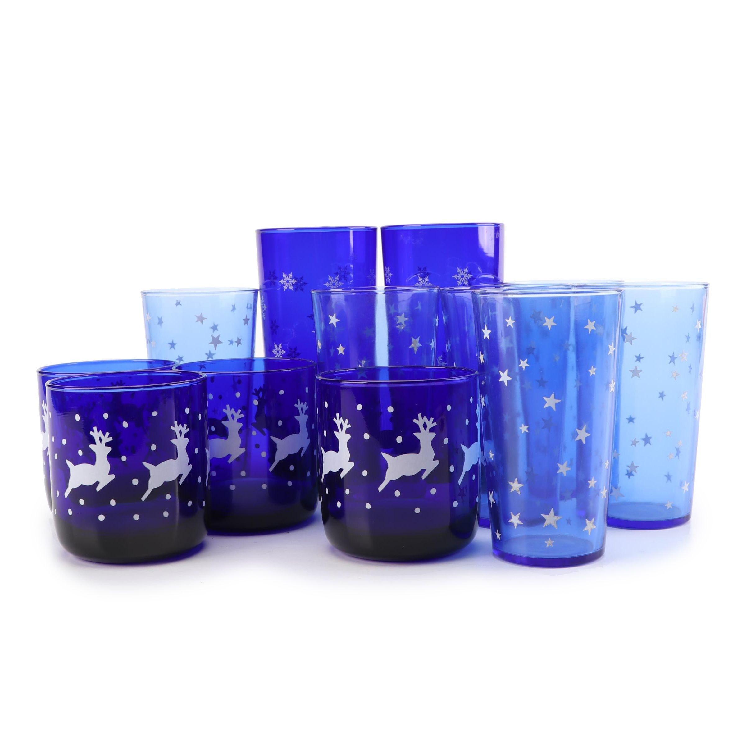 Vintage Cobalt Star, Snowflake and Reindeer Motif Glassware featuring Libbey