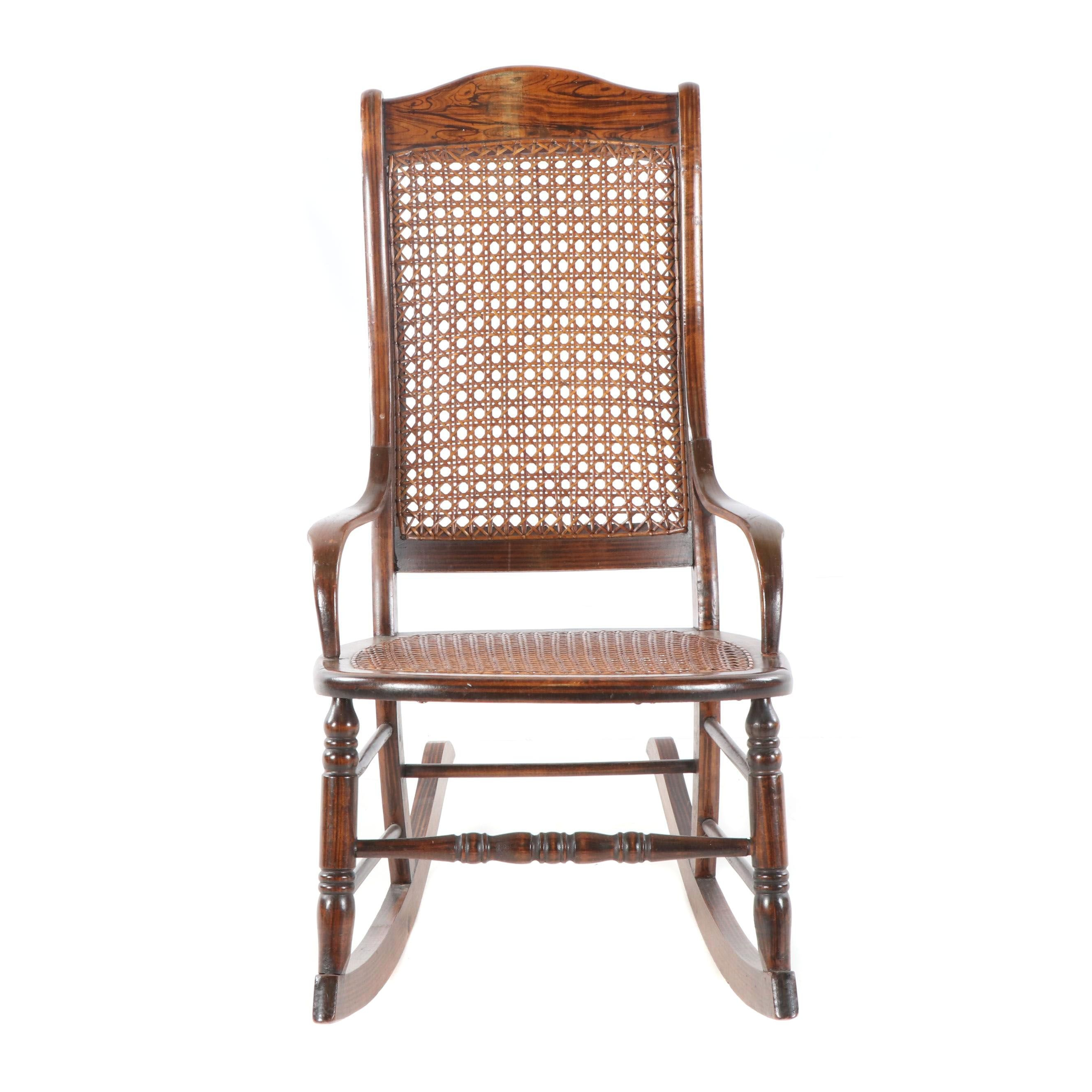 Stained Ash Cane Seat Rocking Chair, 20th Century