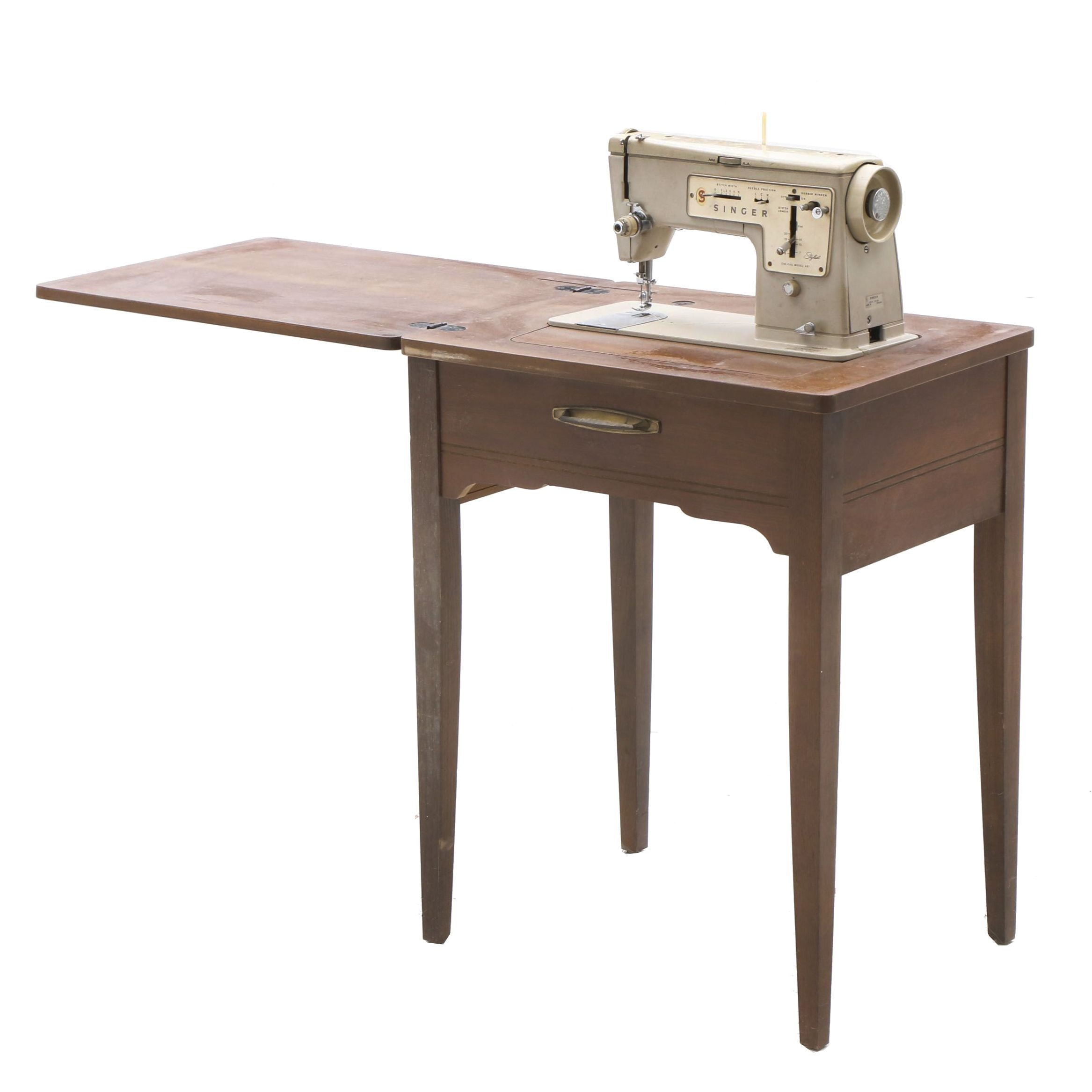 Mid-Century Singer Sewing Table in Walnut