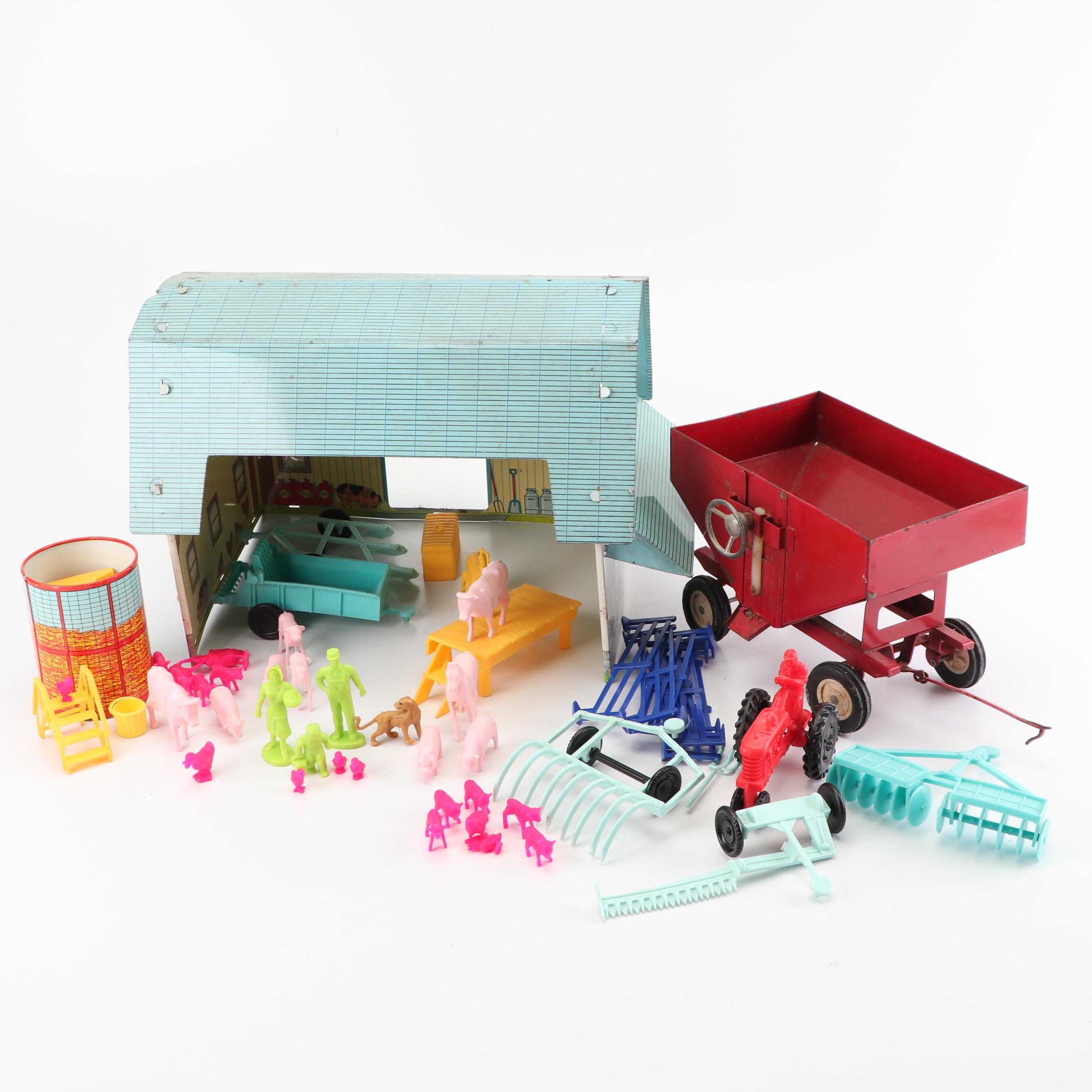 """""""Valley View Farm"""" Toy Set including Barn, Equipment, and Animals, Mid-20th C."""