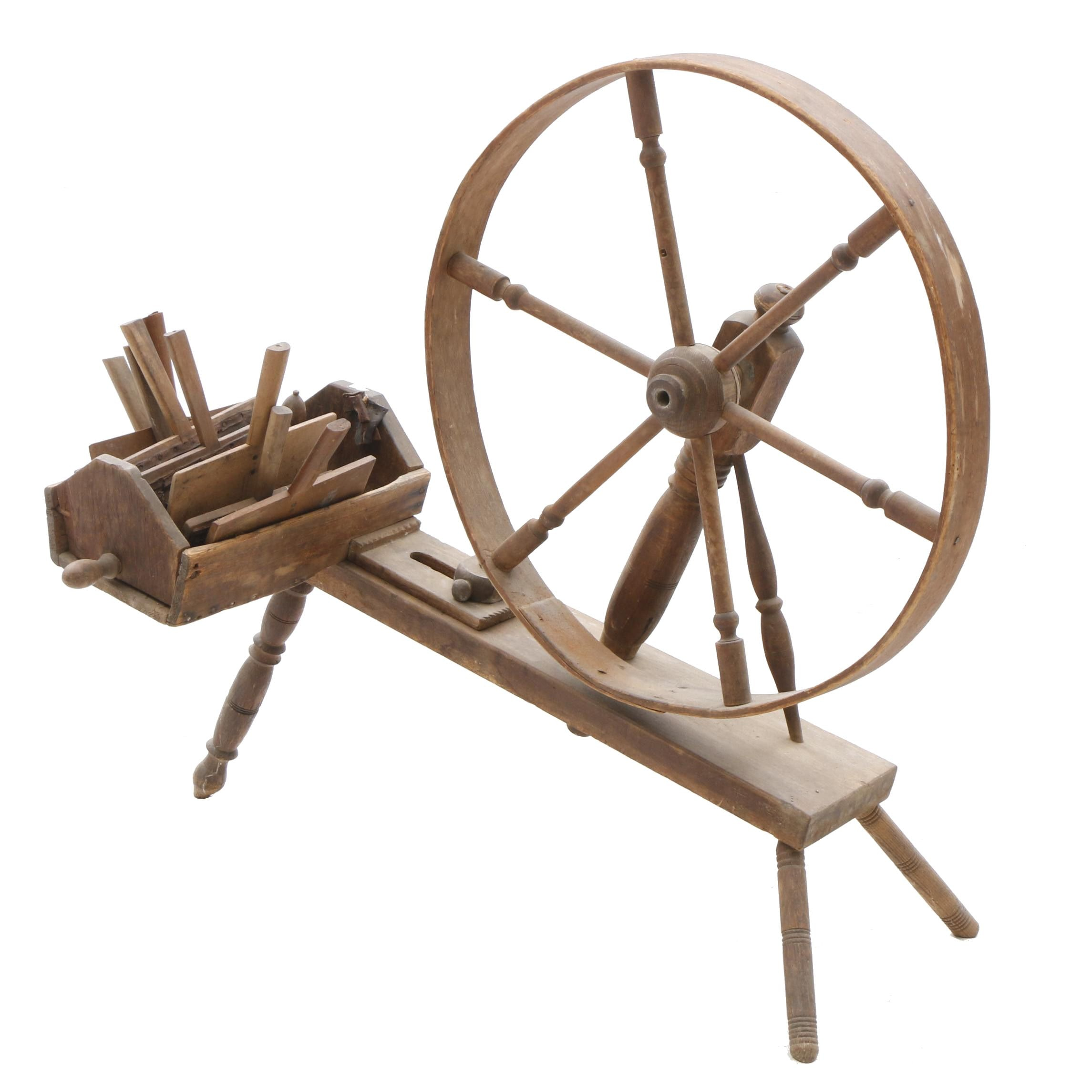 Spinning Wheel with Carding Paddles, Late 19th Century