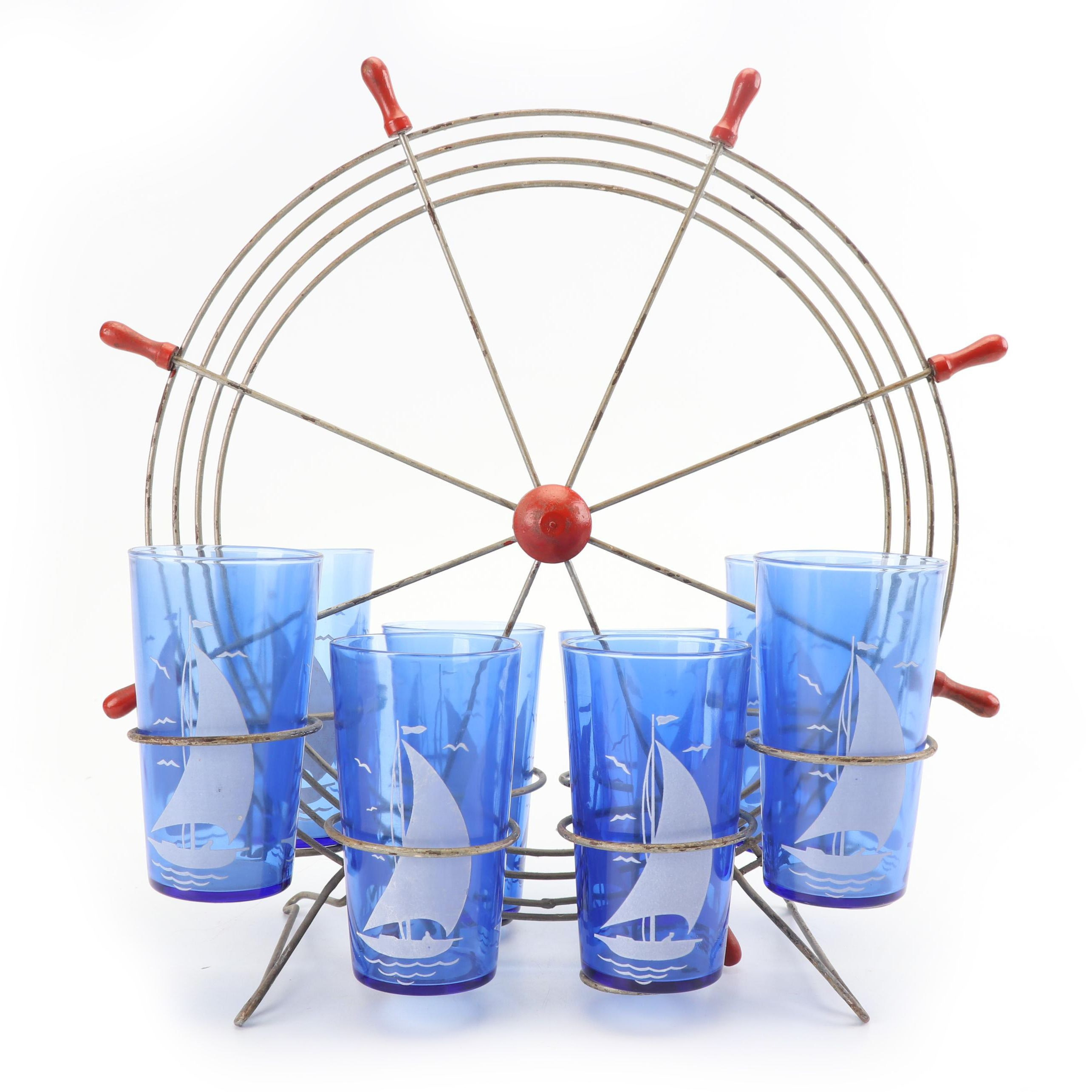 "Hazel-Atlas ""Ships"" Iced Tea Glasses with Ship's Wheel Style Caddy"