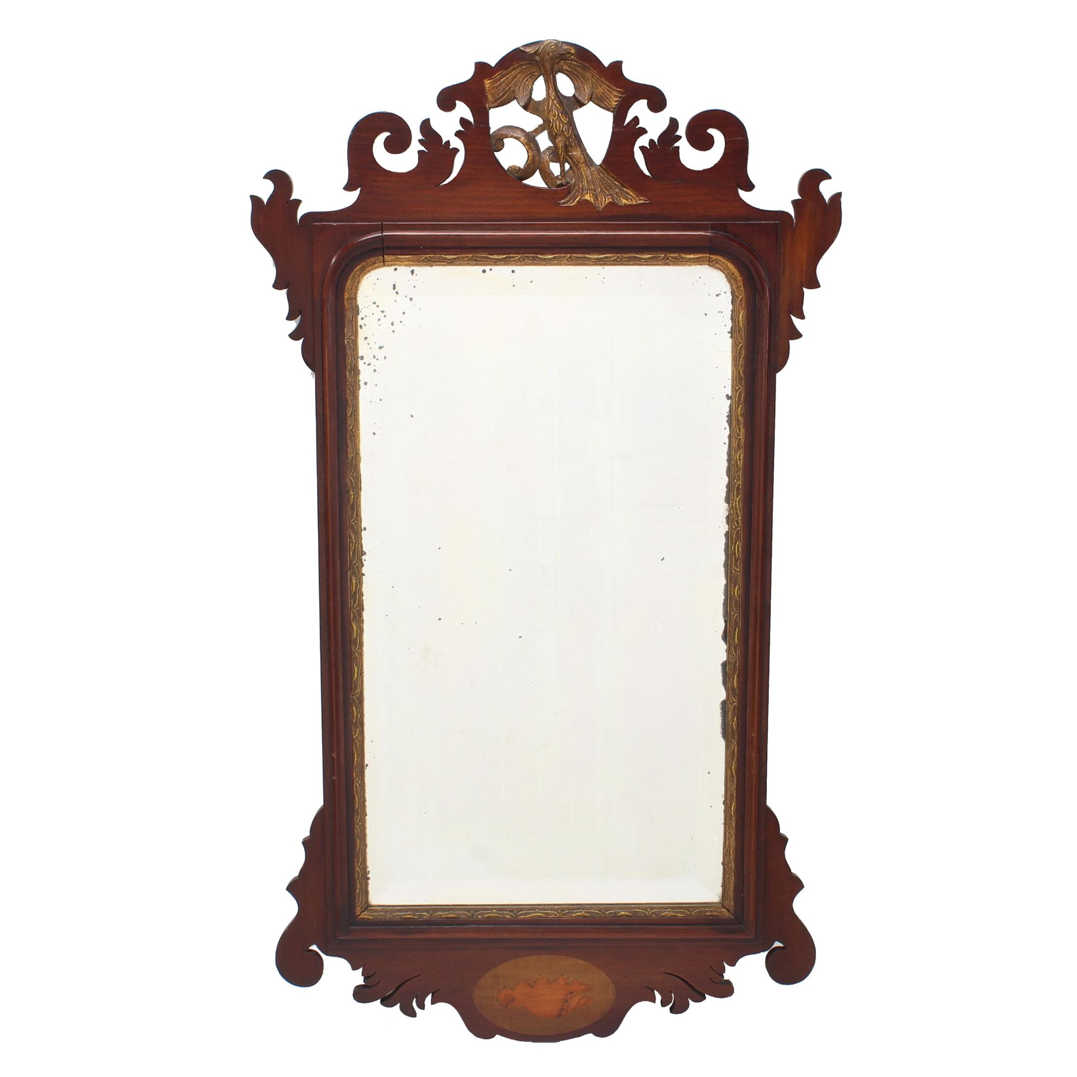 George III Style Mahogany, Parcel-Gilt, and Marquetry Mirror
