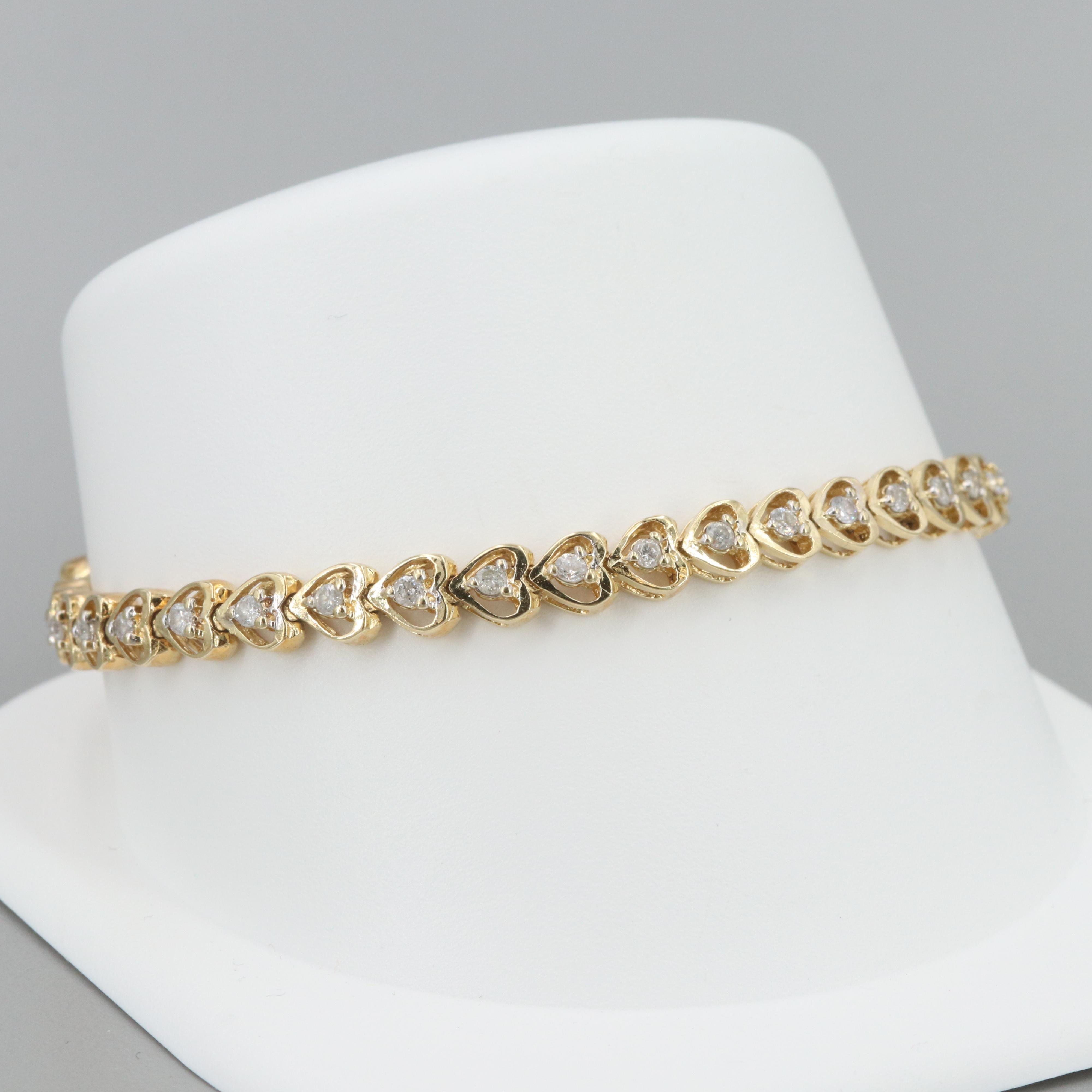 14K Yellow Gold 1.05 CTW Diamond Openwork Heart Bracelet