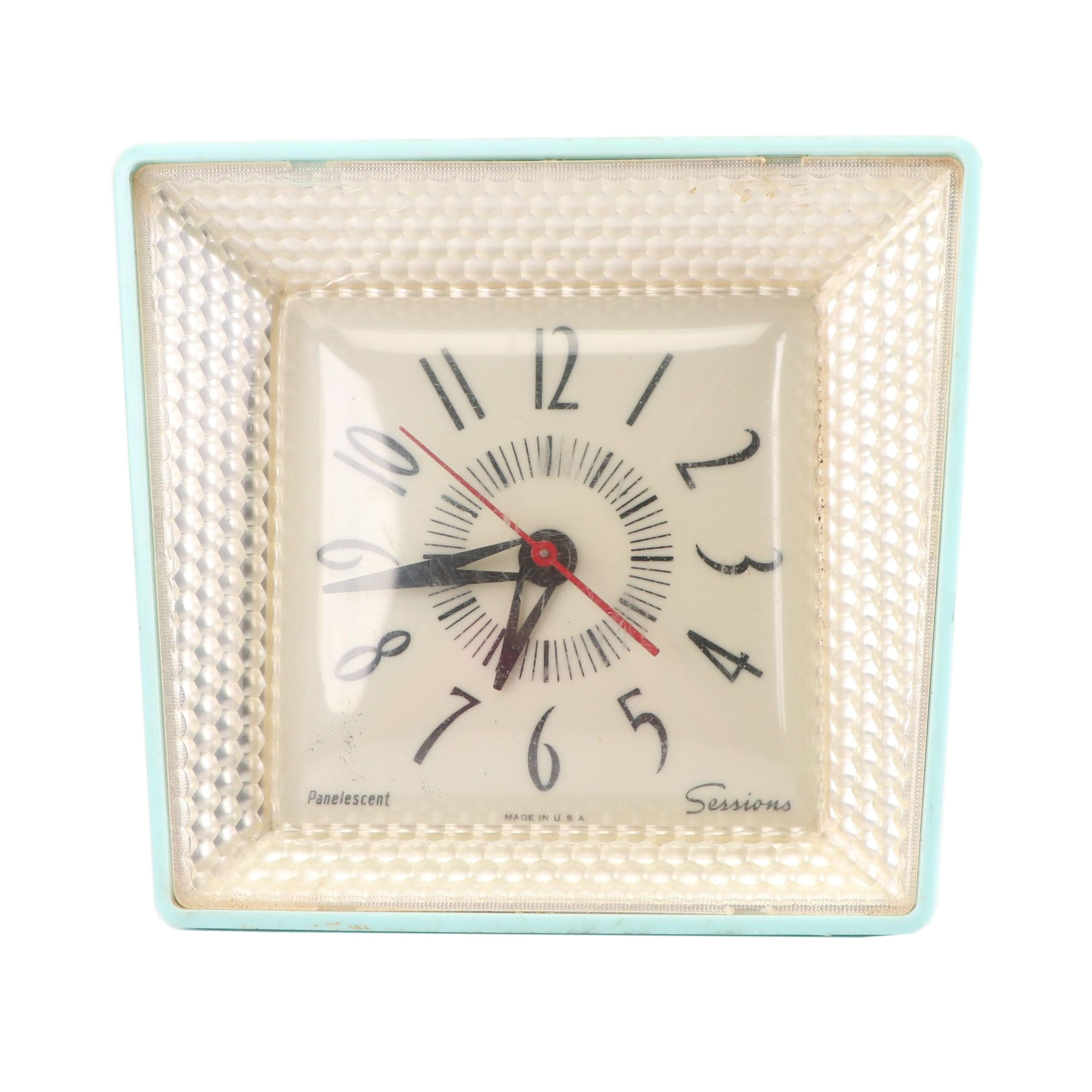"""Sessions """"Panelescent"""" Electric Wall Clock, Mid 20th Century"""