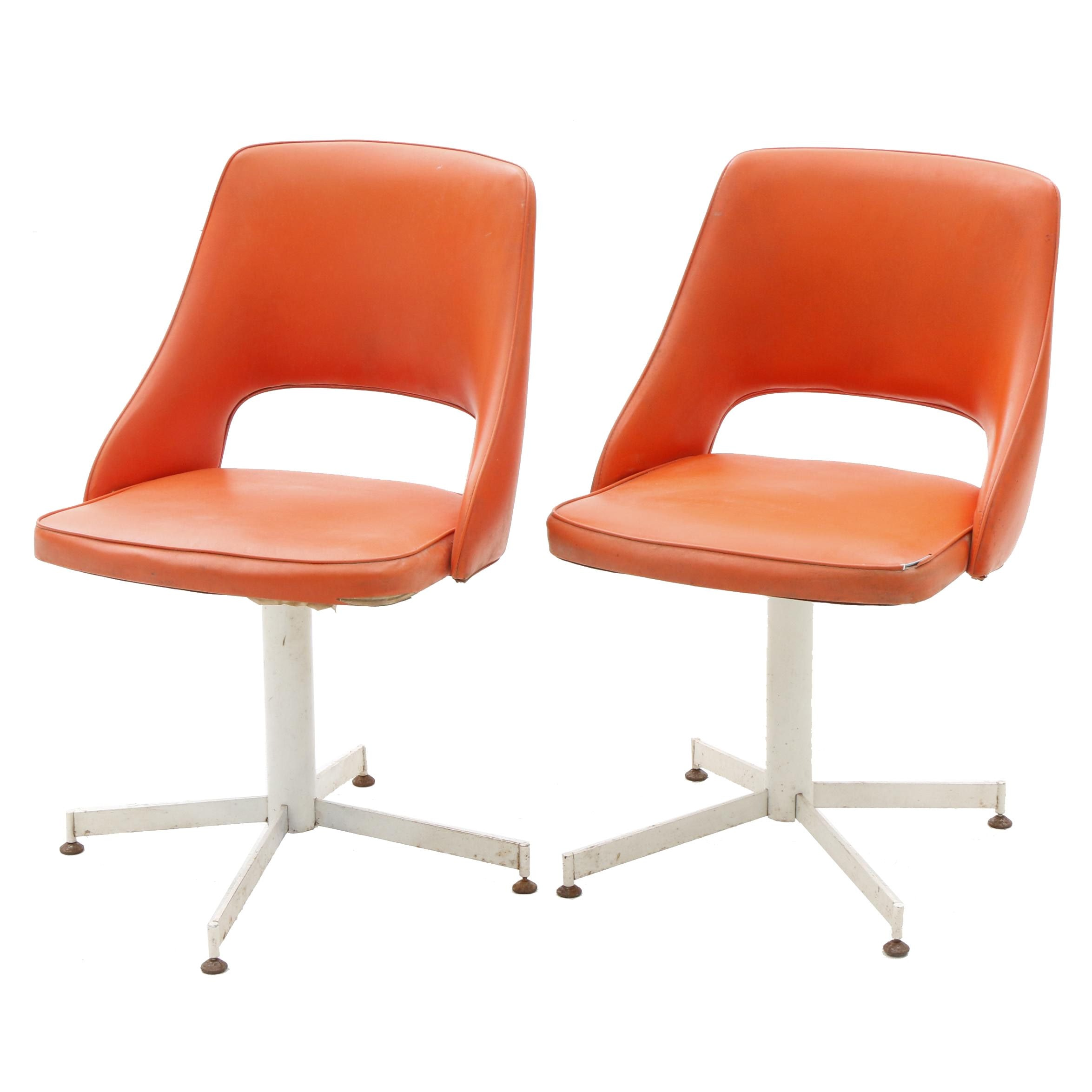 Pair of Orange Vinyl Chairs by Progressive Furniture
