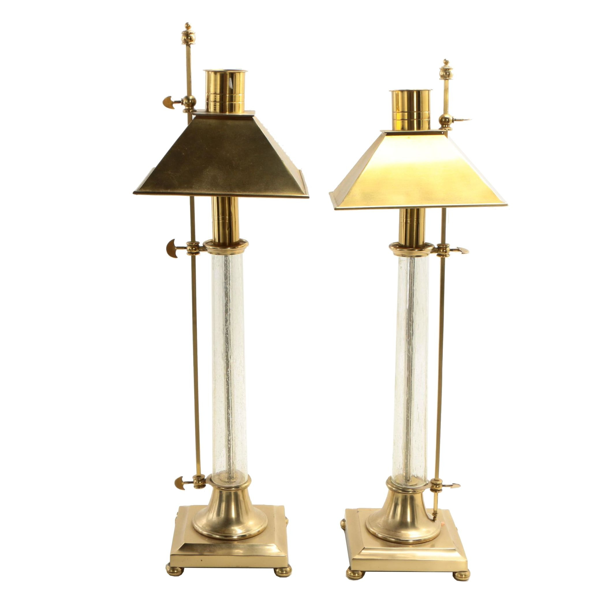 Chapman Columnar Bouillette Style Glass and Brass Table Lamps, 1986