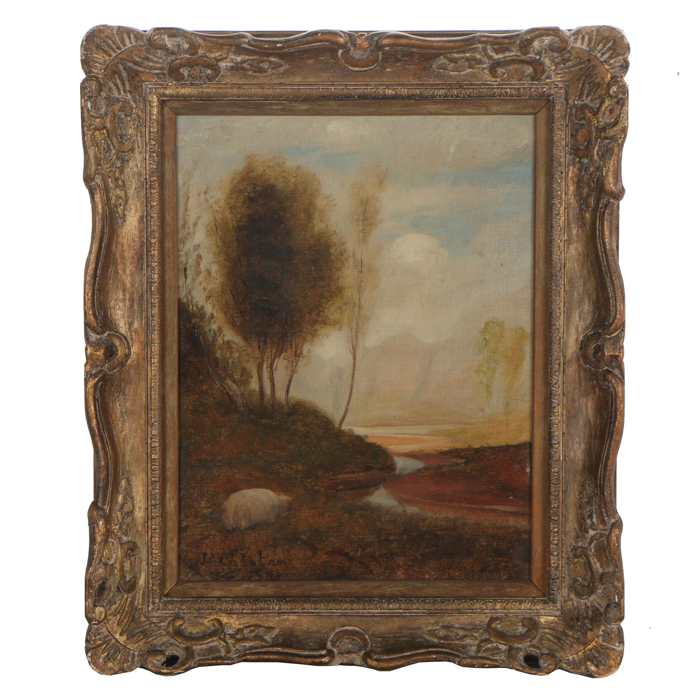 J. Coloton 1908 Oil Painting of Tonalist Landscape