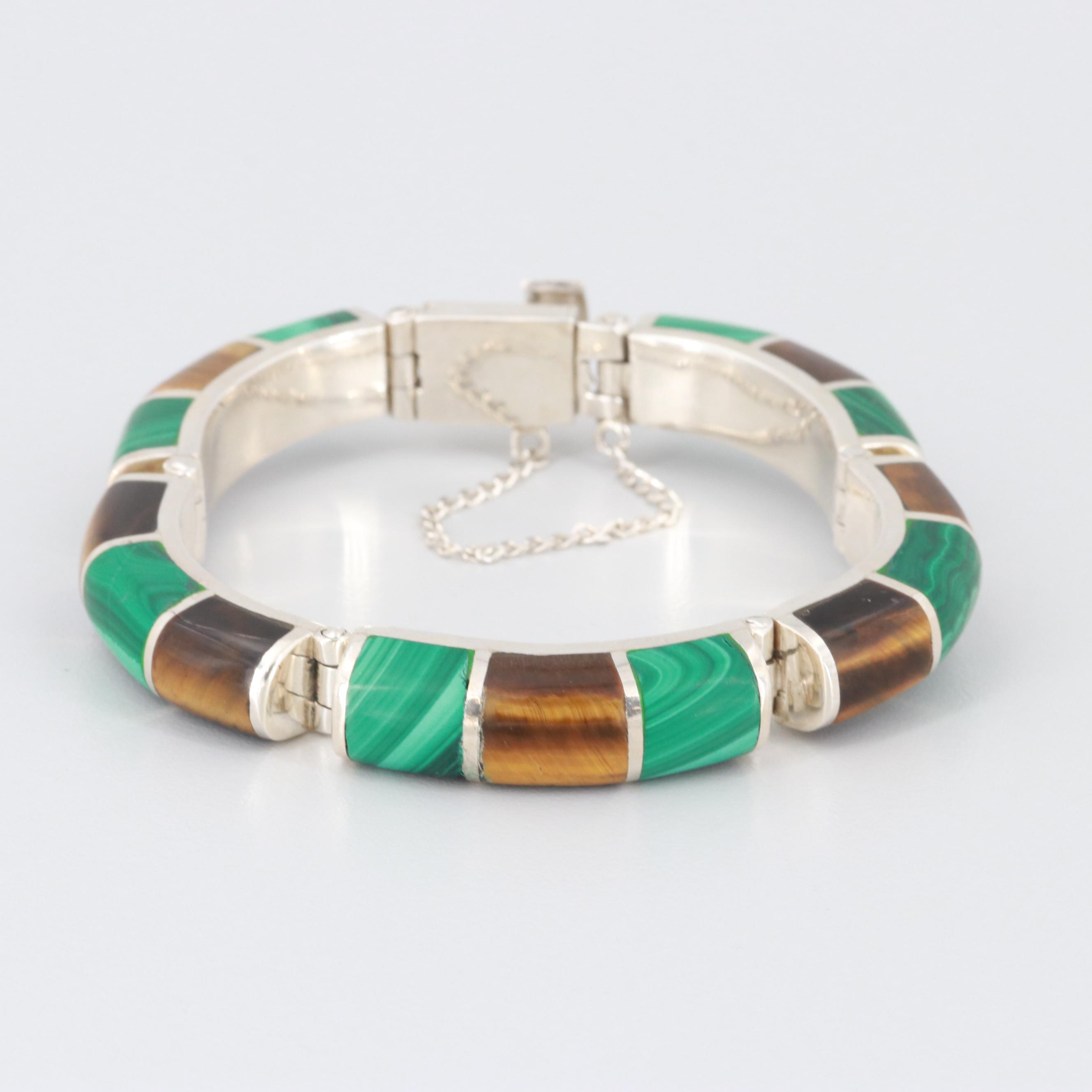 Mexican 950 Silver Malachite and Tiger's Eye Bracelet