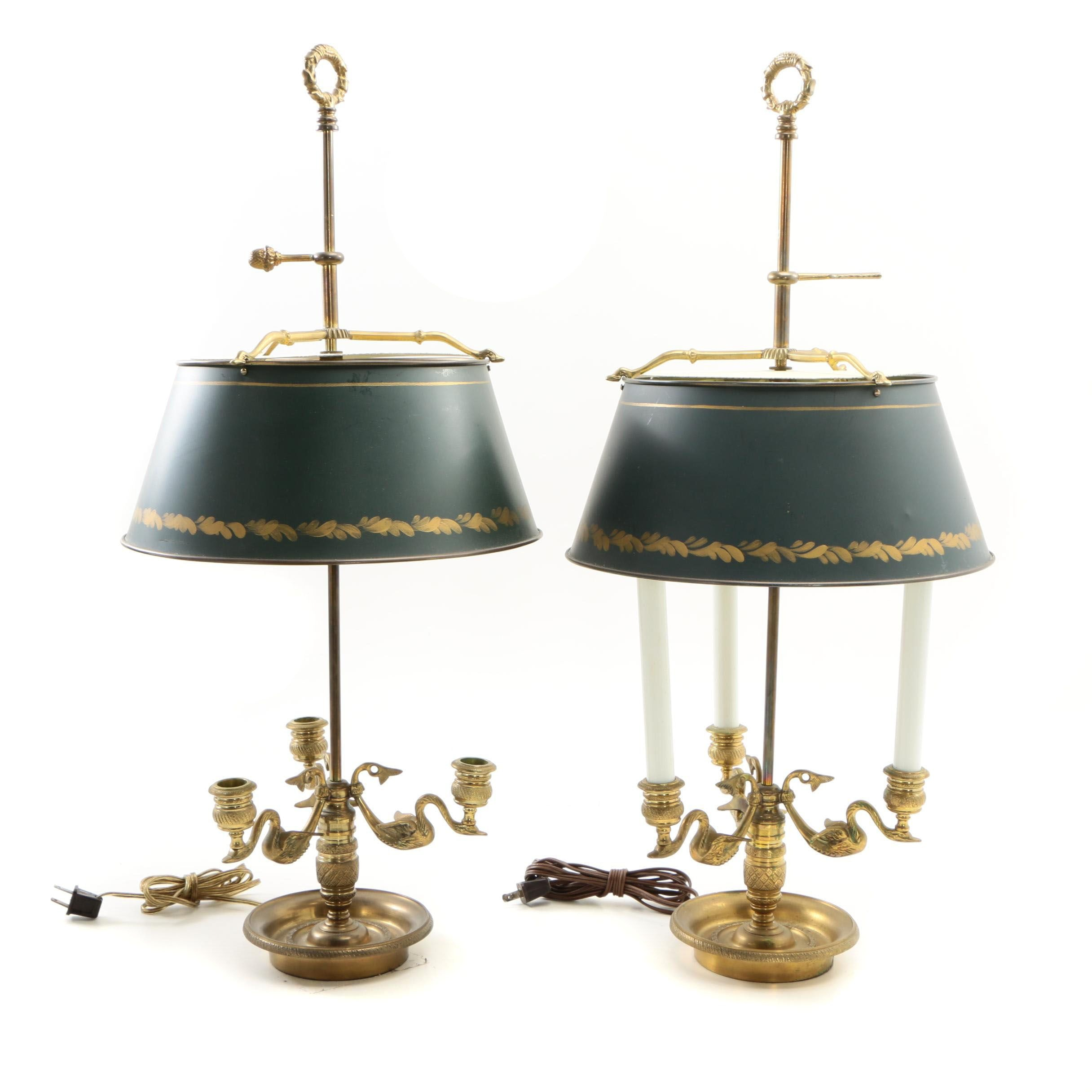 Empire Style Chapman Brass Swan Bouillotte Lamps with Tole Lamp Shades, 1972