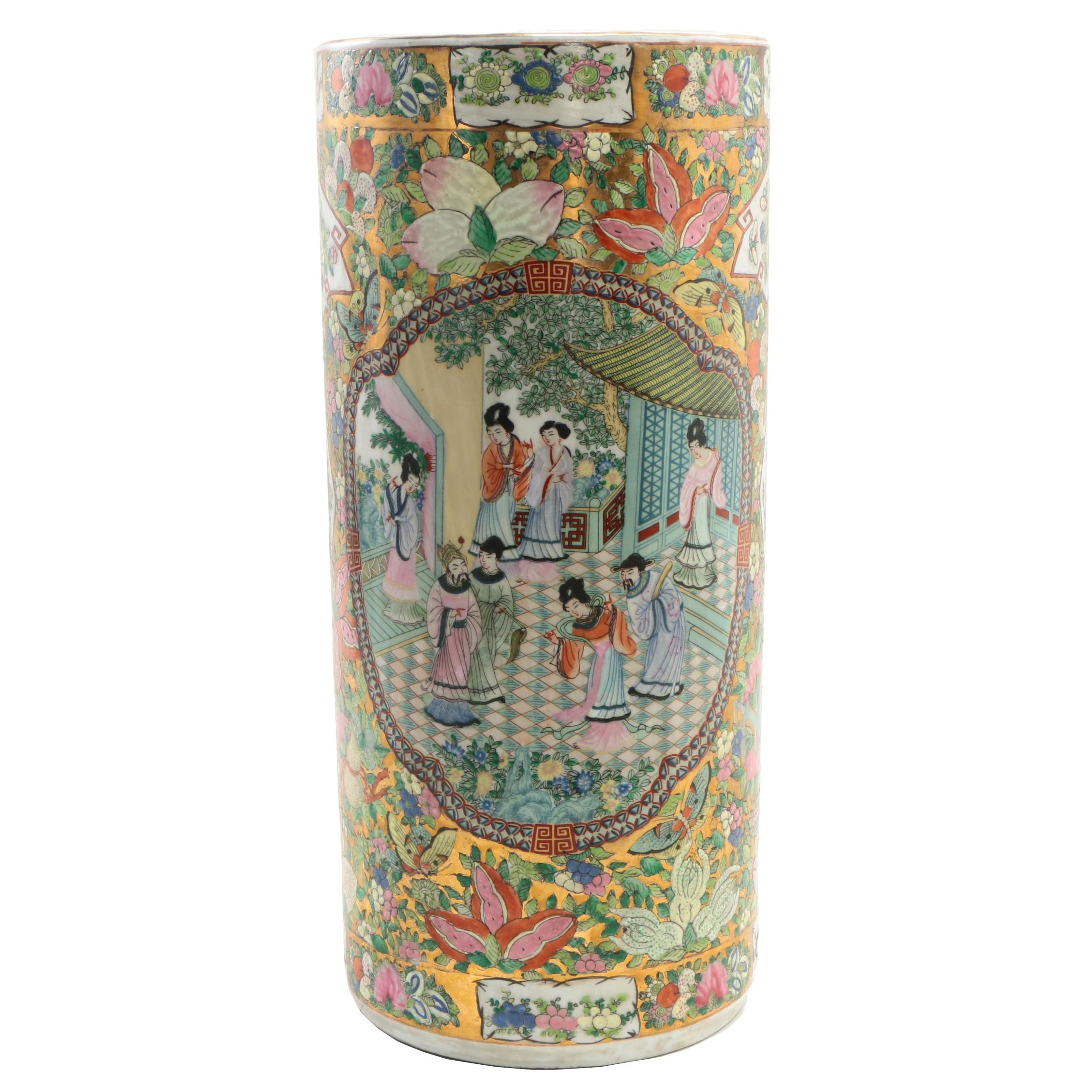 Chinese Rose Medallion Ceramic Umbrella Stand