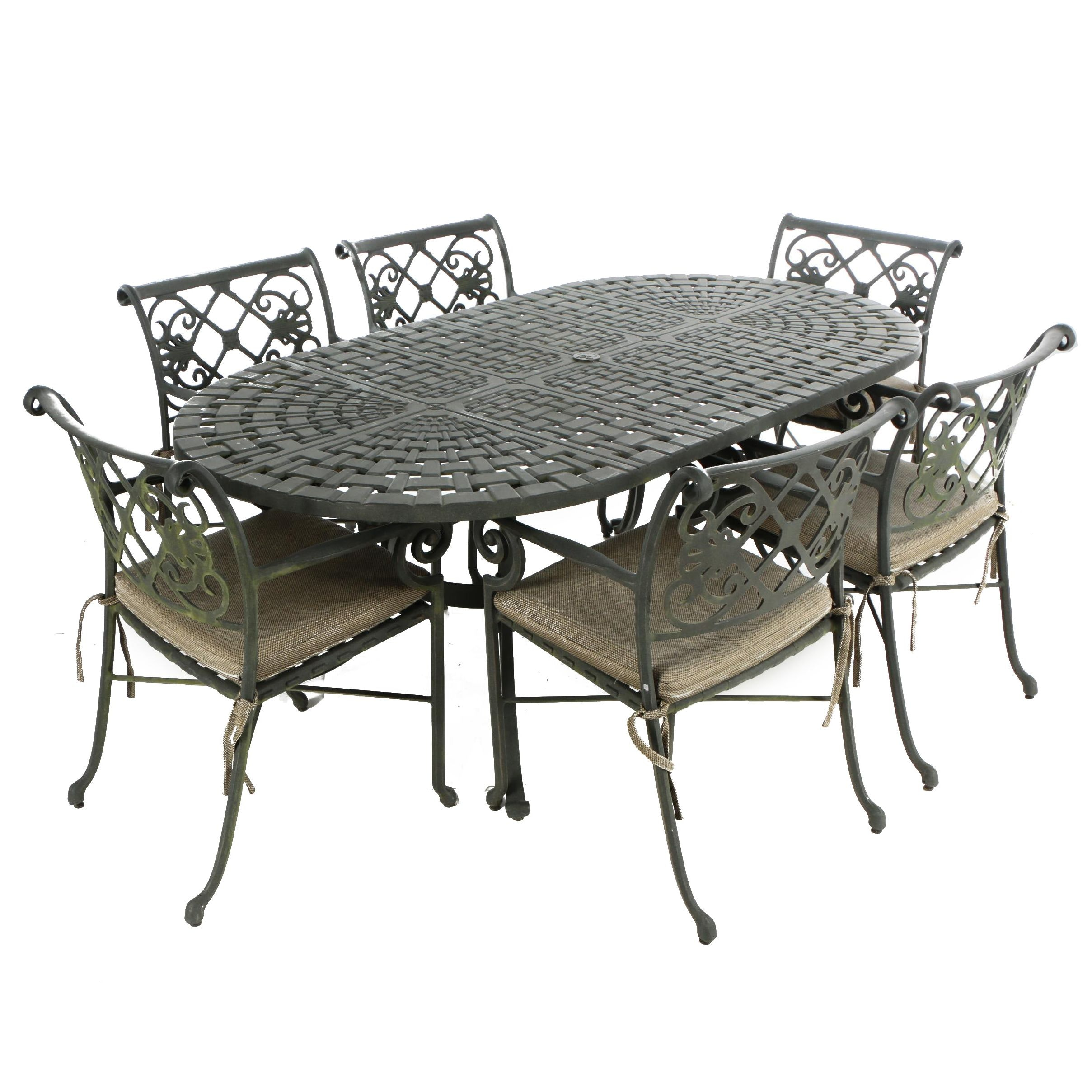 Contemporary Cast-Aluminum Seven-Piece Patio Dining Set by Windham Castings